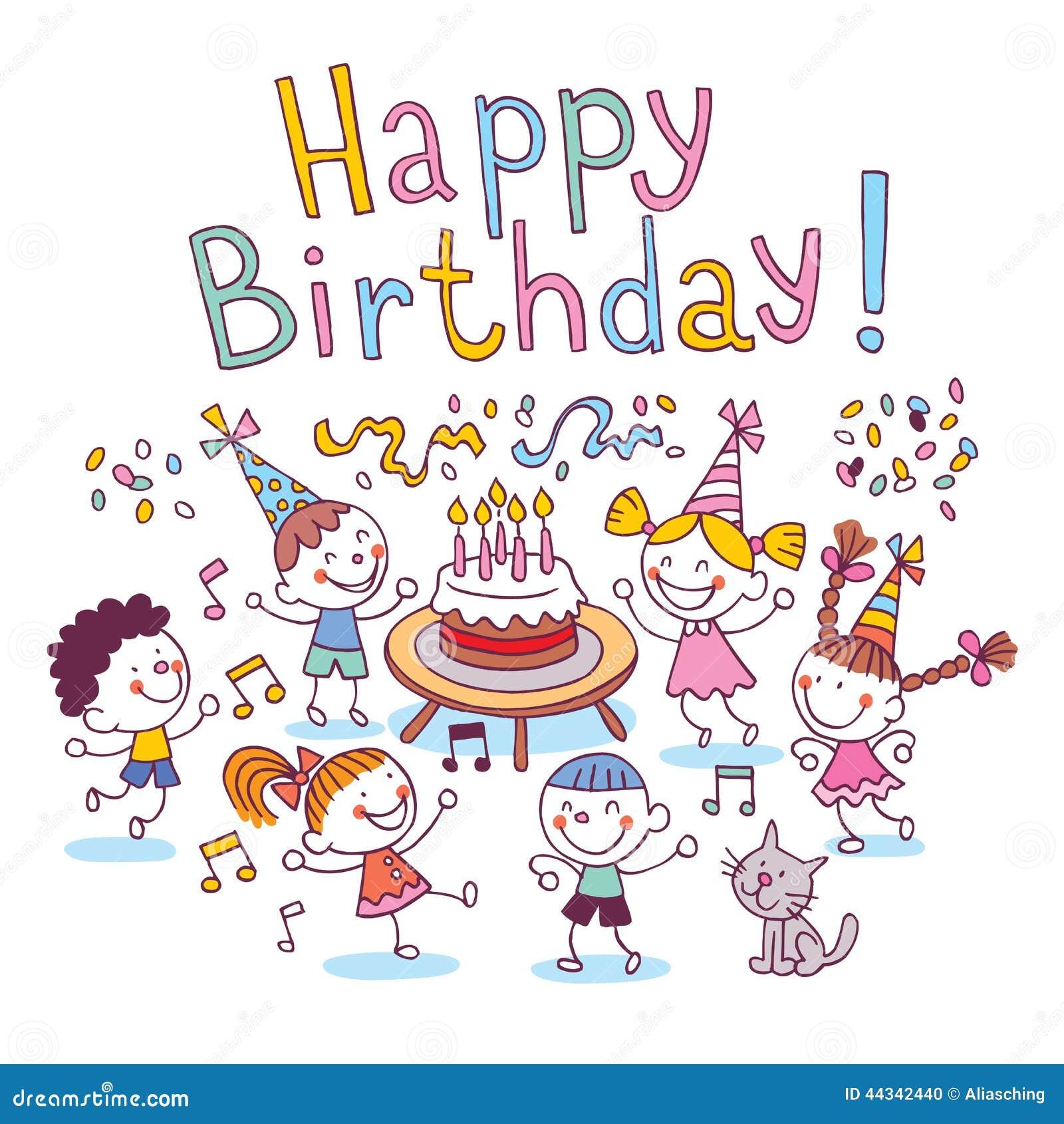 Happy Birthday Kids Stock Vector Illustration Of Hand
