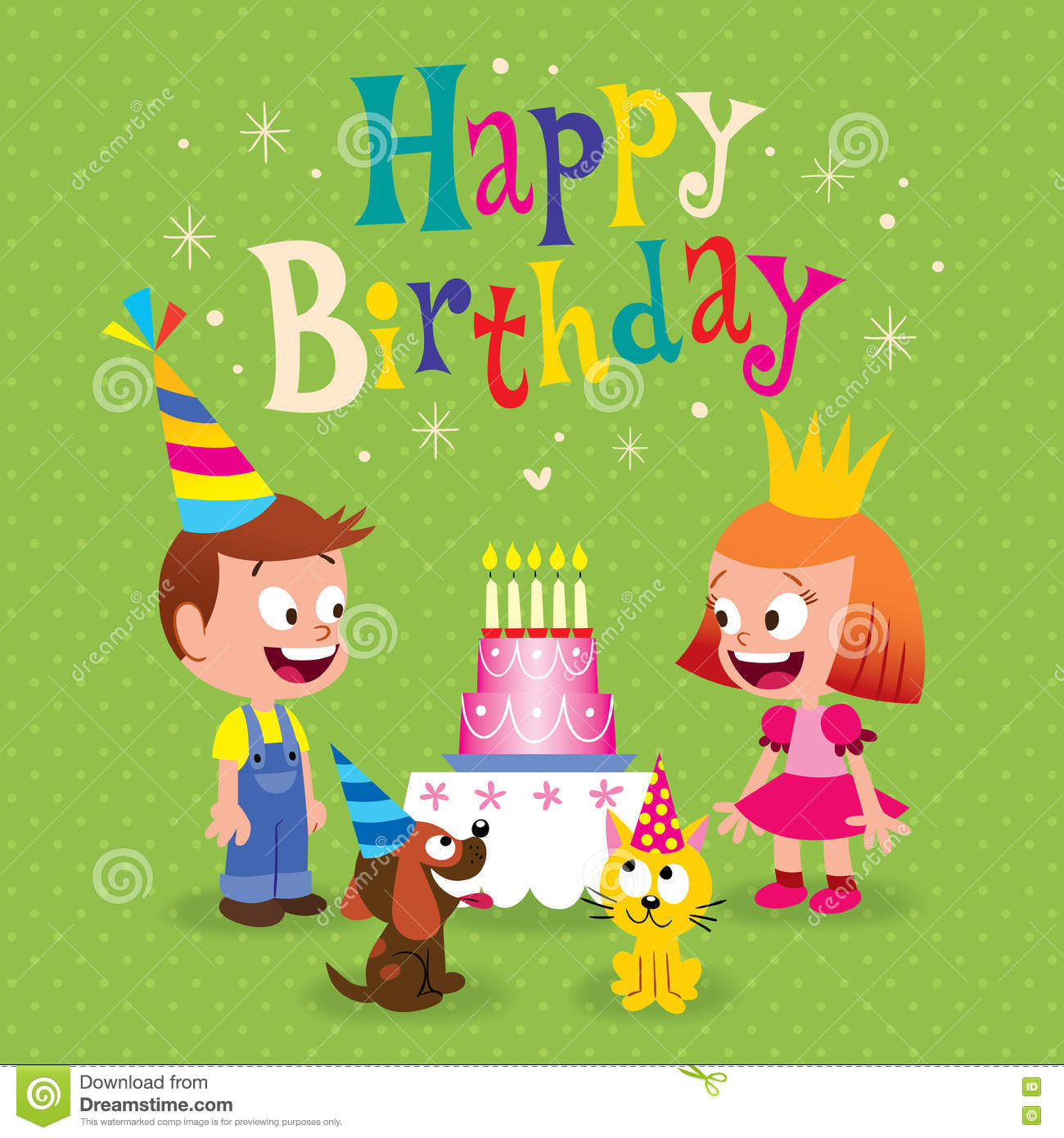 Happy Birthday Kids Greeting Card Stock Vector