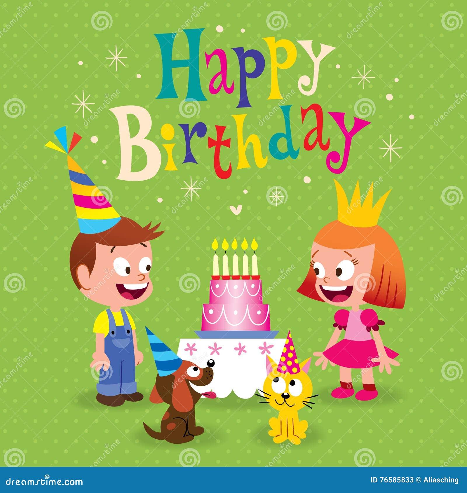 Happy Birthday Kids Greeting Card Stock Vector Illustration Of