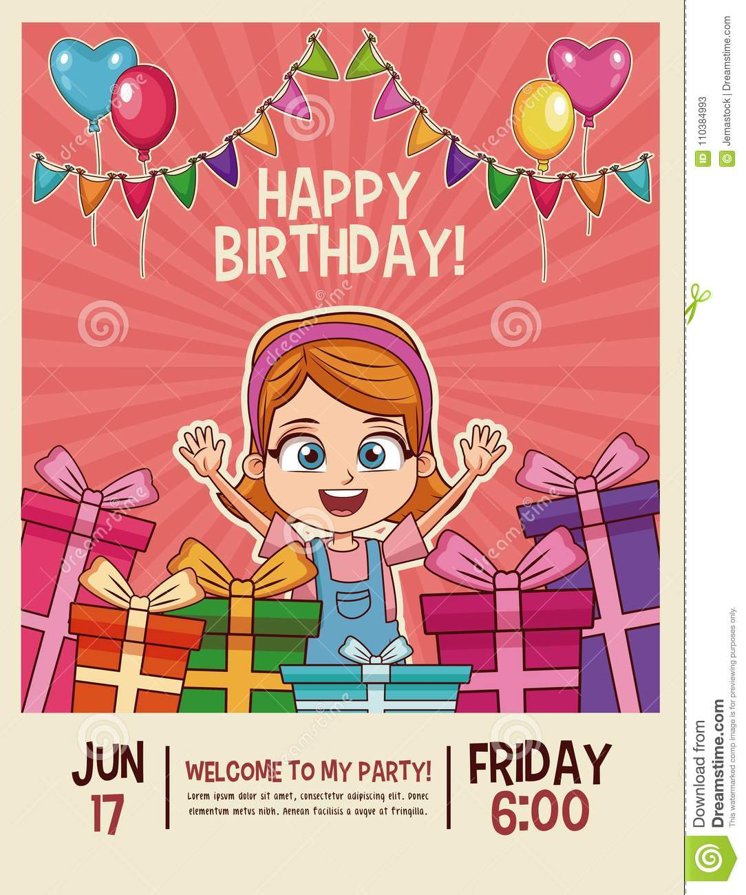 Happy Birthday Invitation Card Stock Vector Illustration