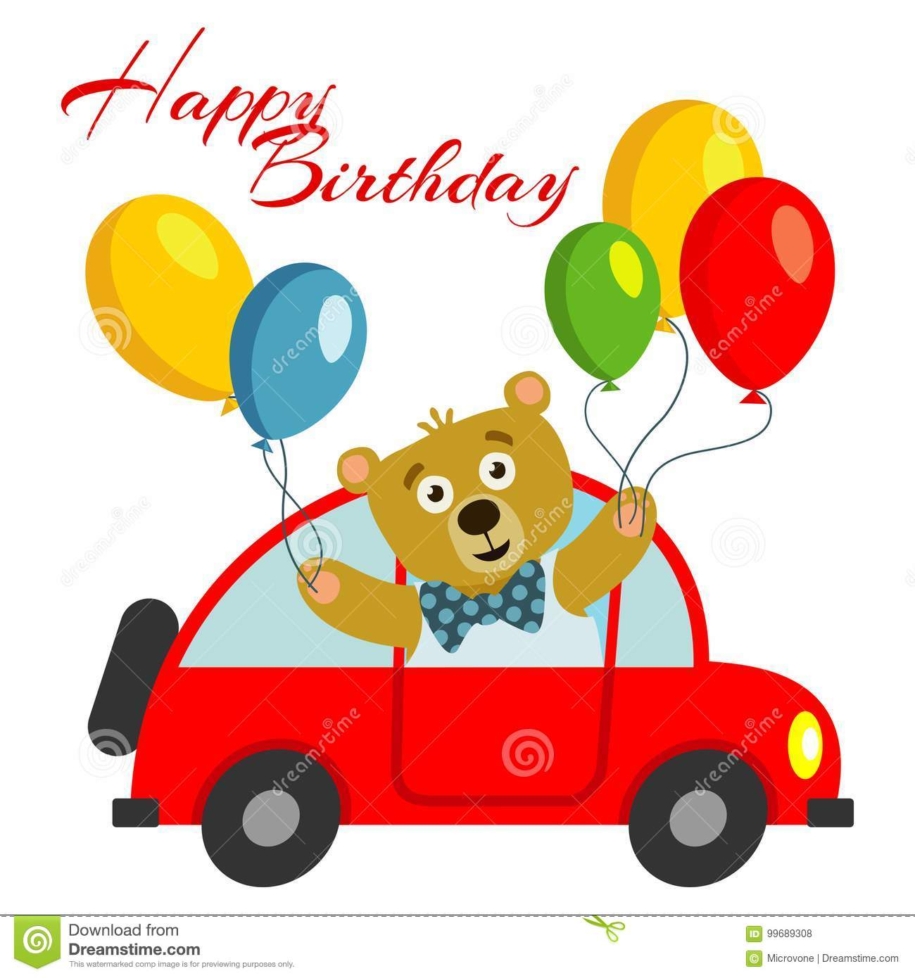 Happy birthday kids postcard template with bear with balloons in red car