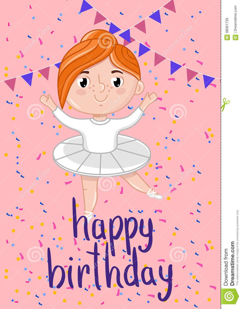 happy birthday kids postcard template stock vector illustration of