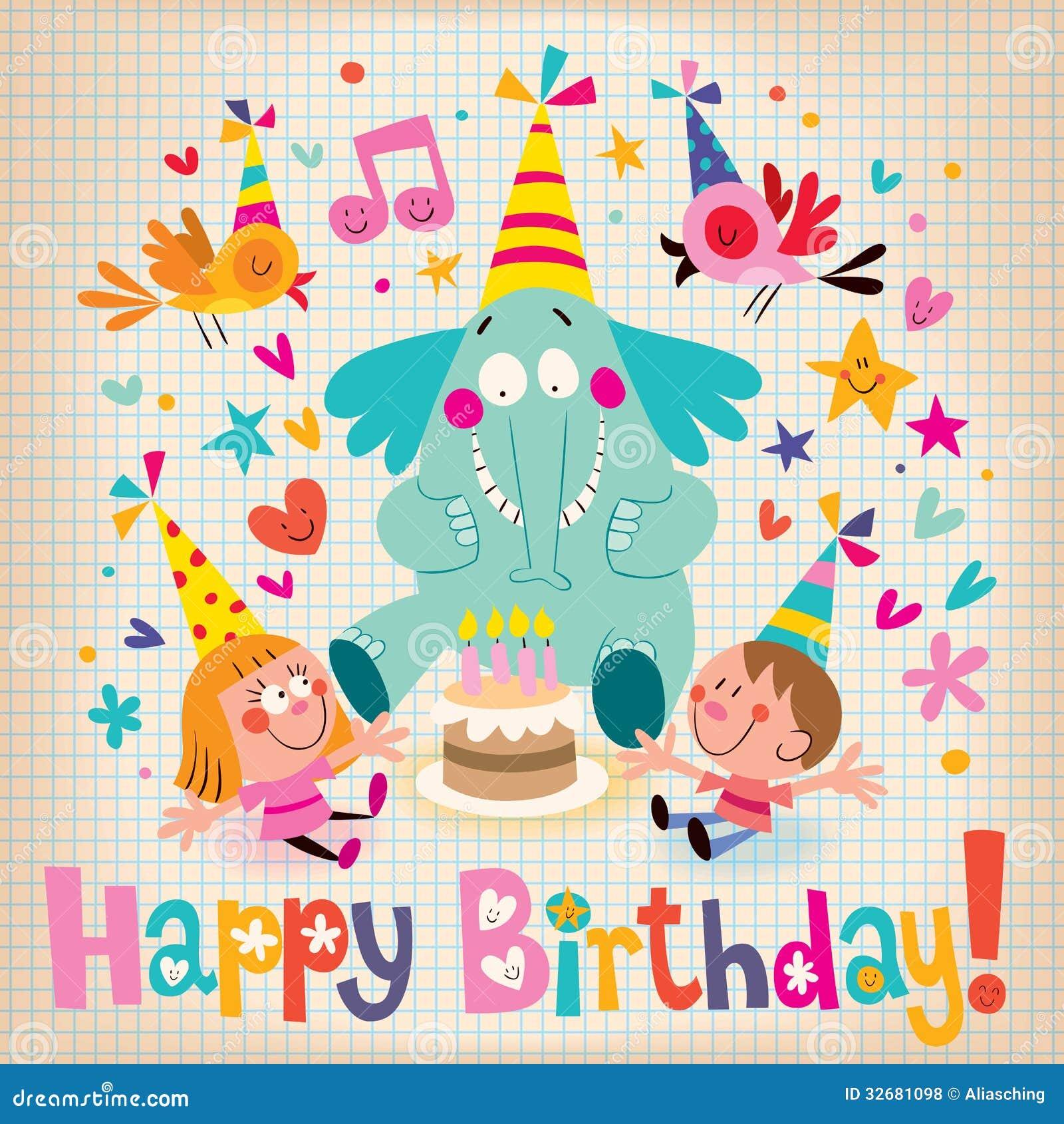 Happy birthday kids note paper cartoon stock illustrations 82 happy birthday kids retro style card royalty free stock photos bookmarktalkfo Images