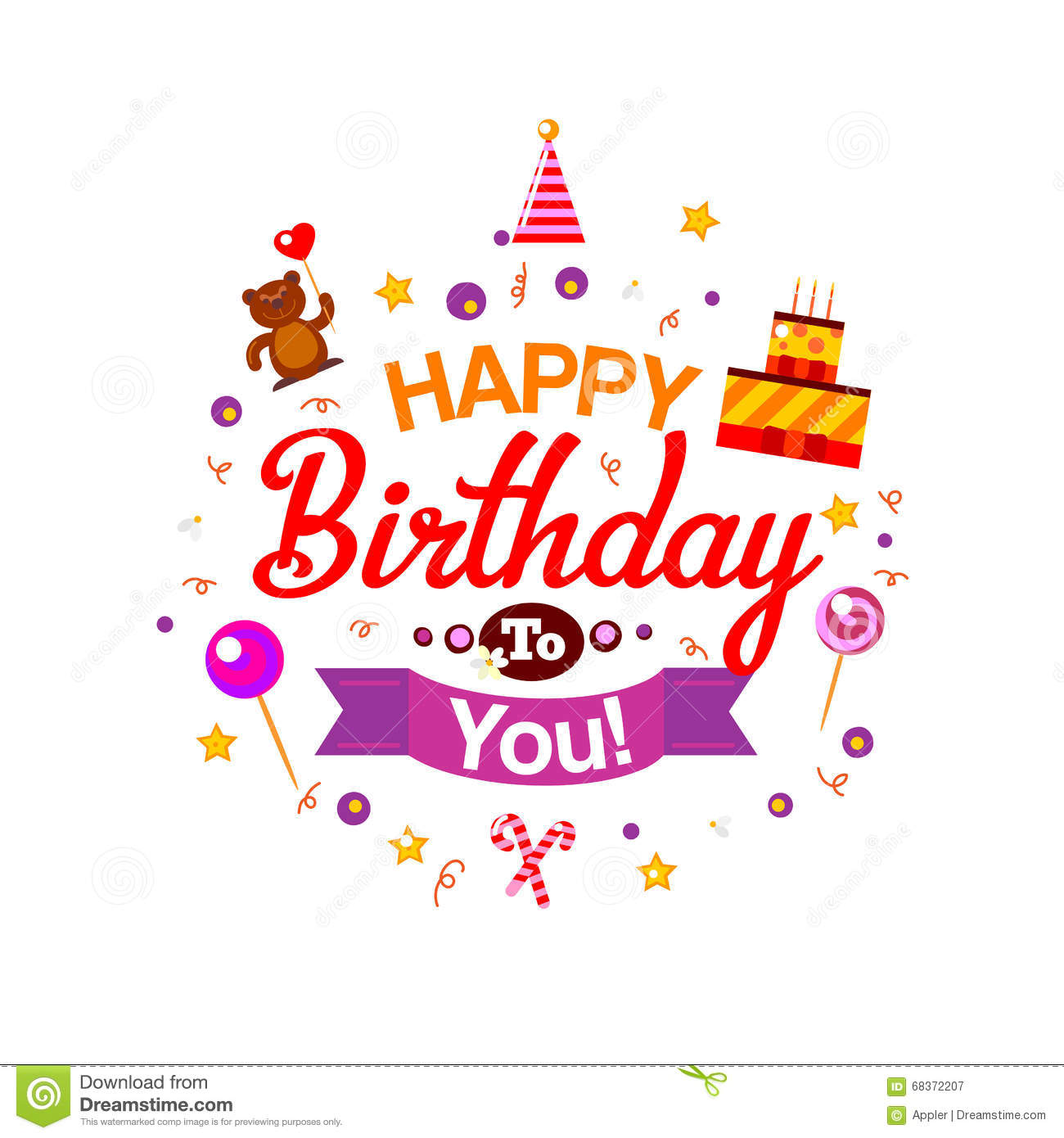 Happy Birthday Kids Typography Card Vector Image 68372207 – Happy Birthday Kids Cards
