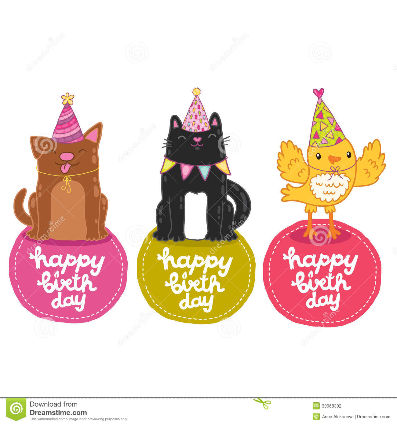 Happy Birthday Labels With Cat, Dog And Bird. Stock Vector ...