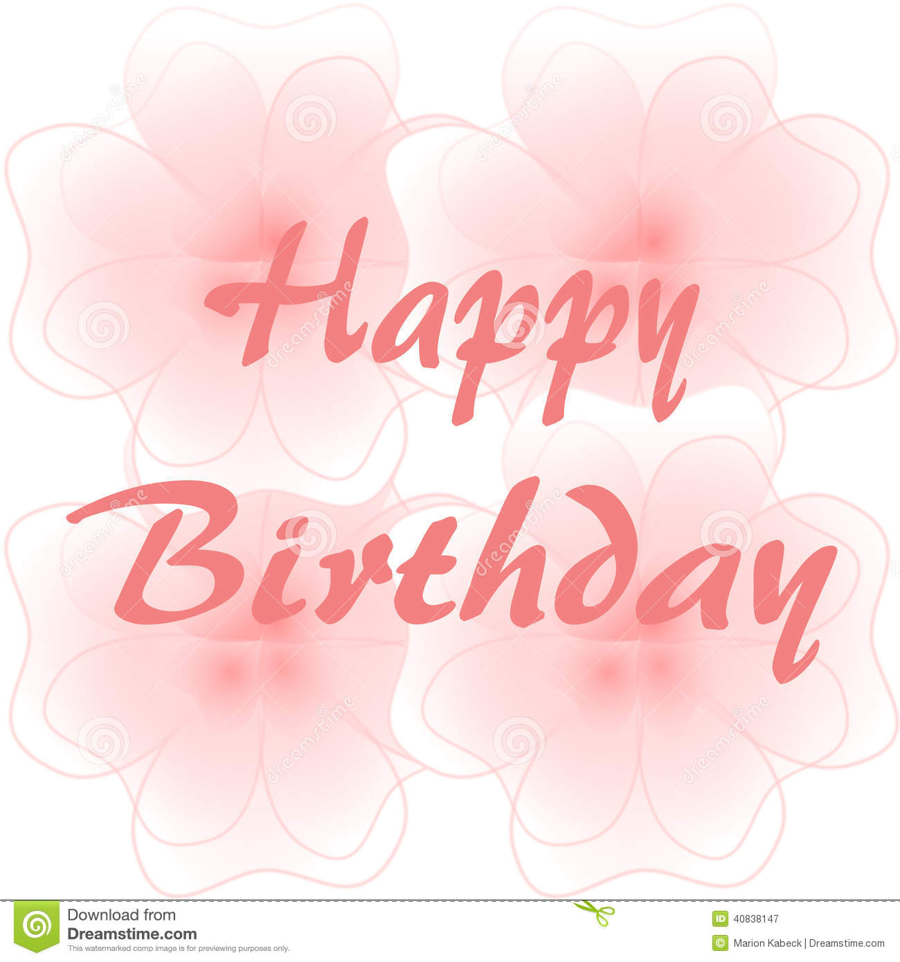 Happy birthday on large pink flowers stock illustration happy birthday on large pink flowers izmirmasajfo Images