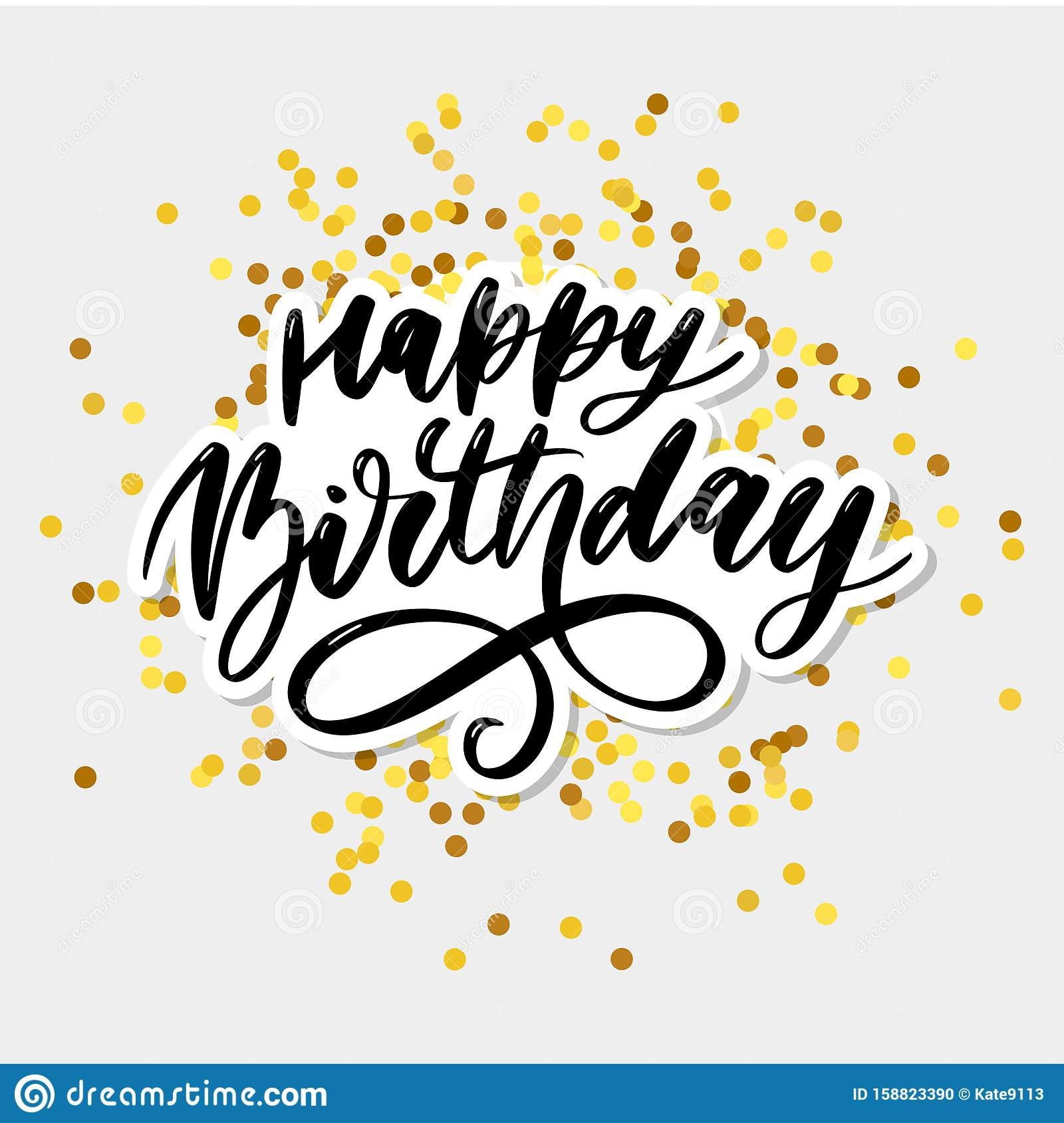 Happy Birthday Lettering Calligraphy Brush Gradient