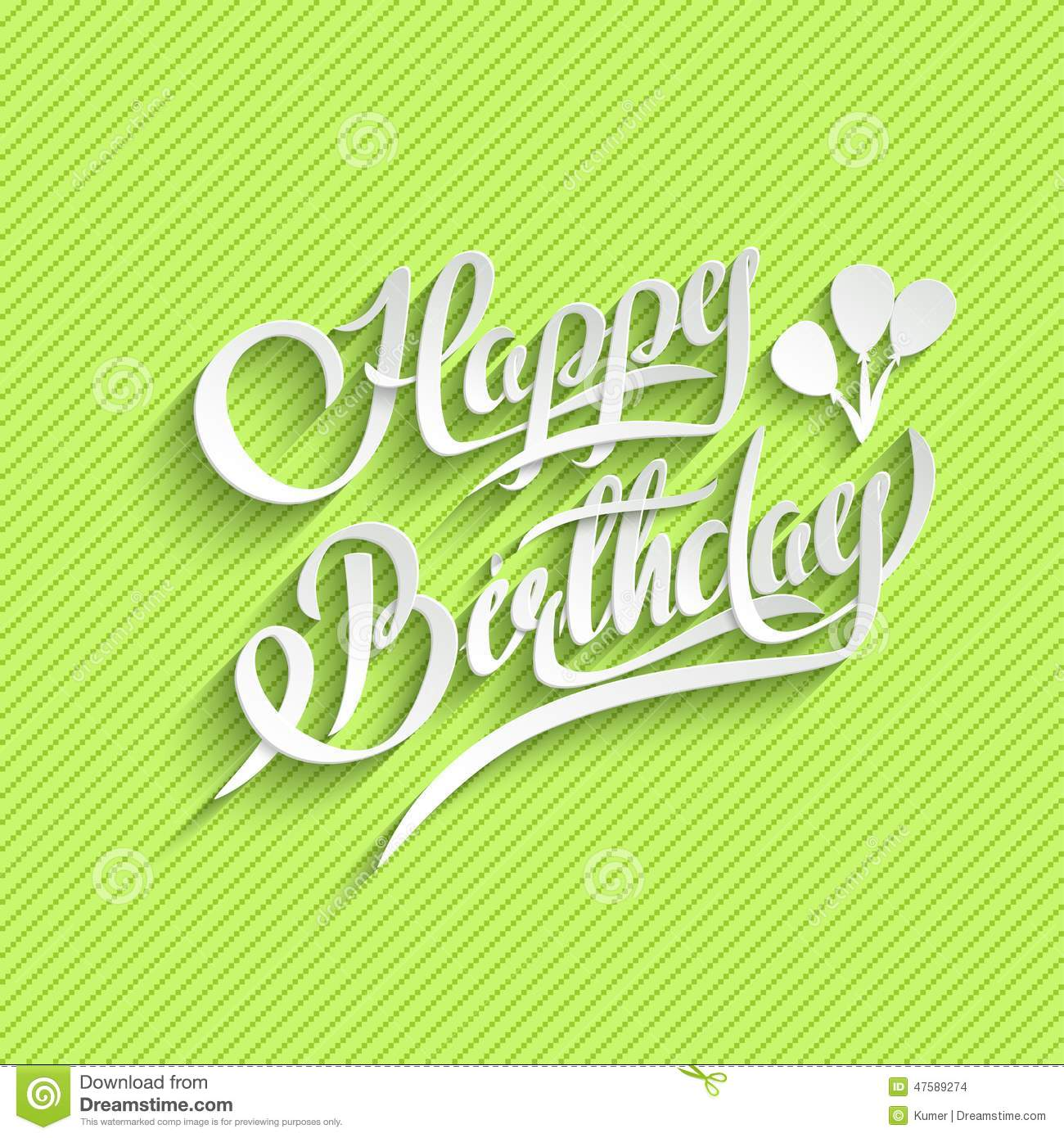 Happy Birthday Lettering Greeting Card Stock Vector