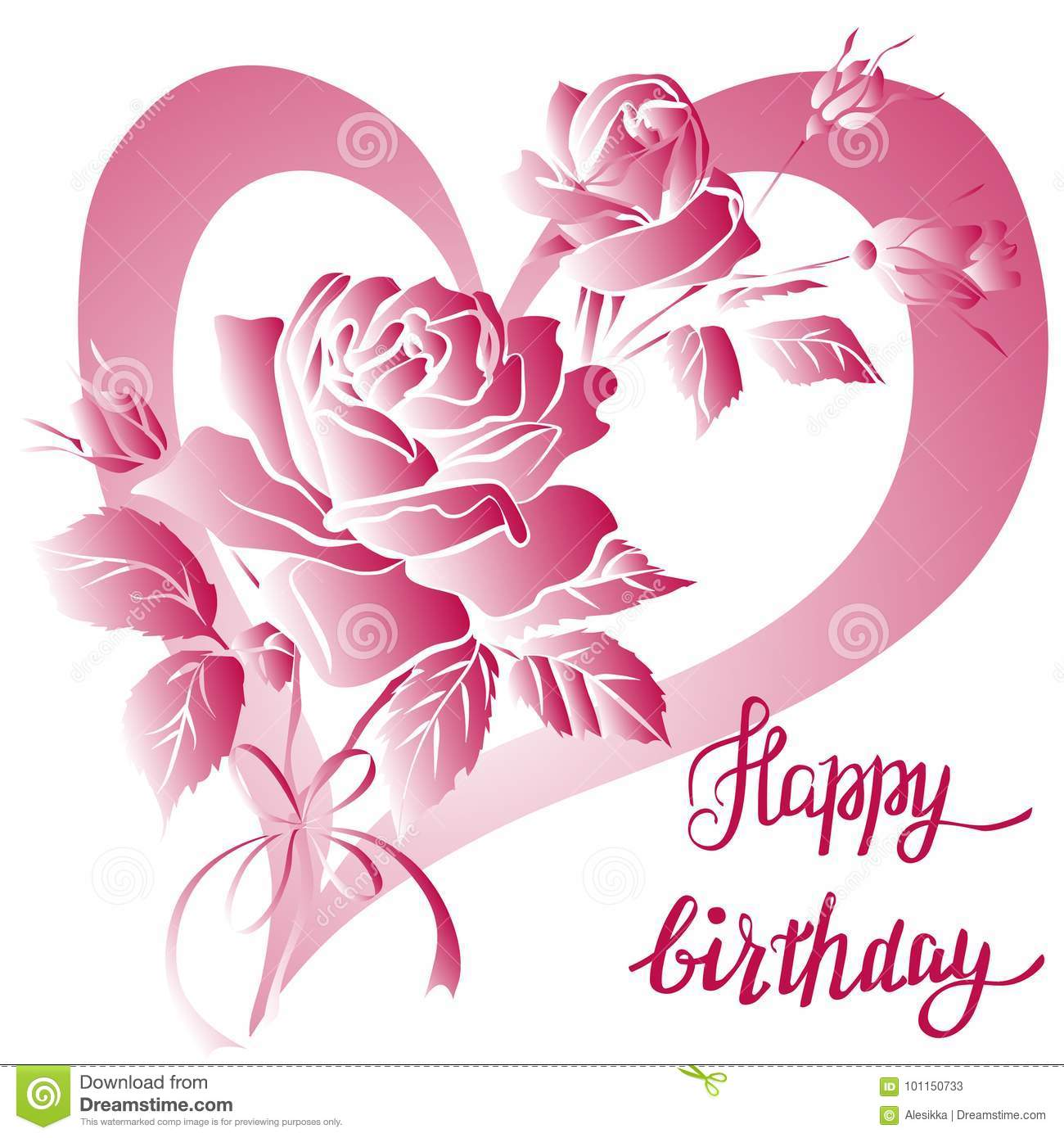 Happy Birthday Lettering And Rose Are On Whitebackground Greeting Card With Fun White Roses Vector Illustration