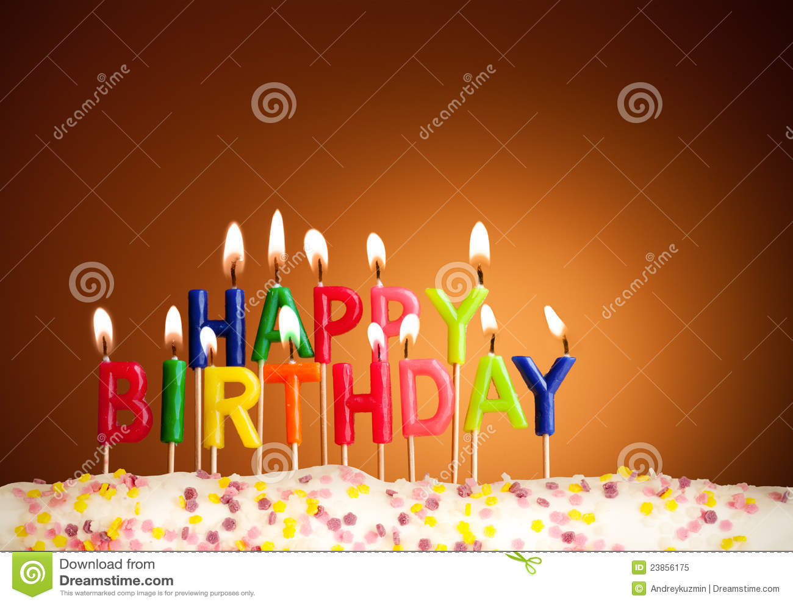 Happy Birthday Lit Candles Closeup Royalty Free Stock