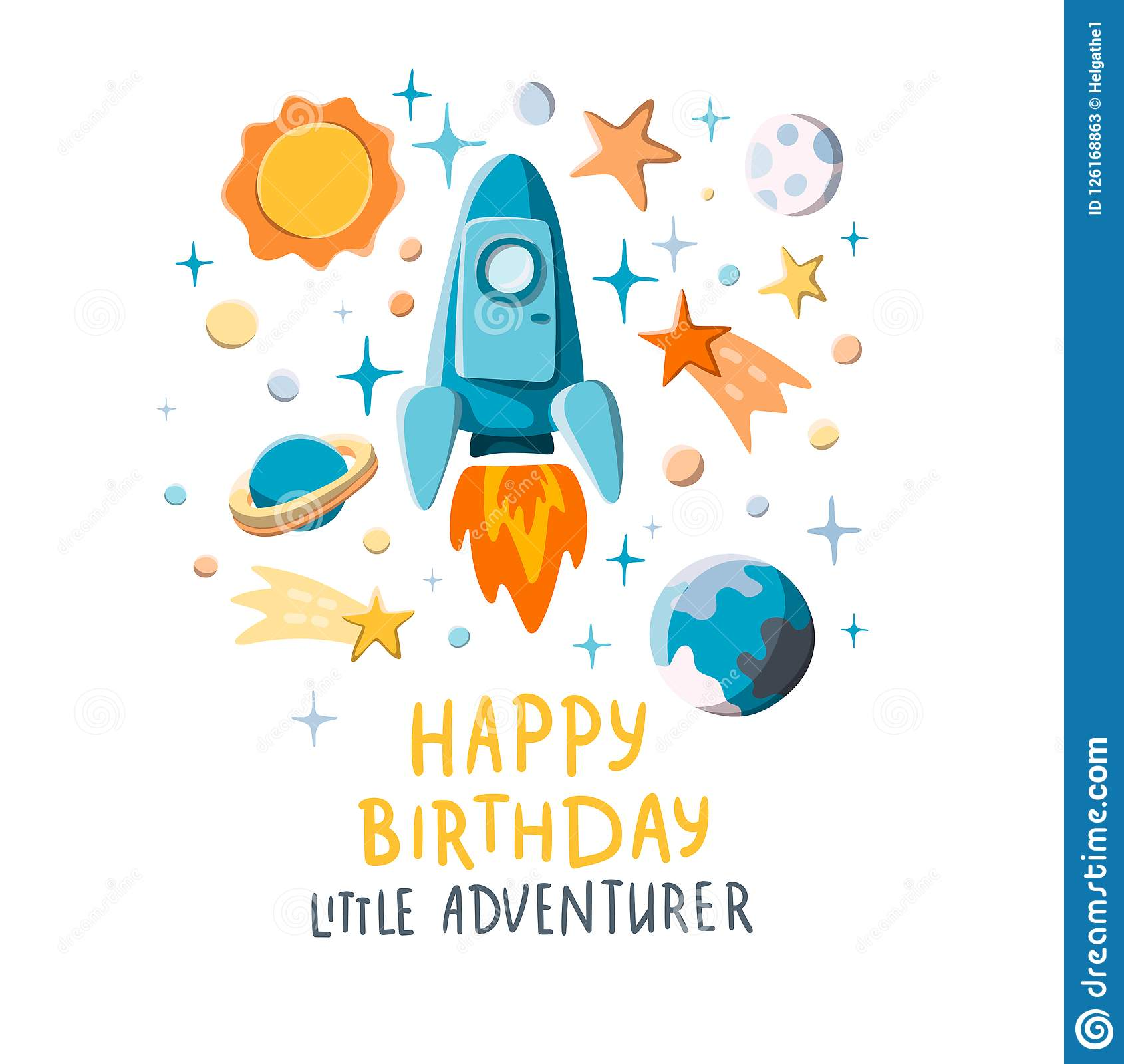 happy birthday little adventurer cute rocket and planets on starry