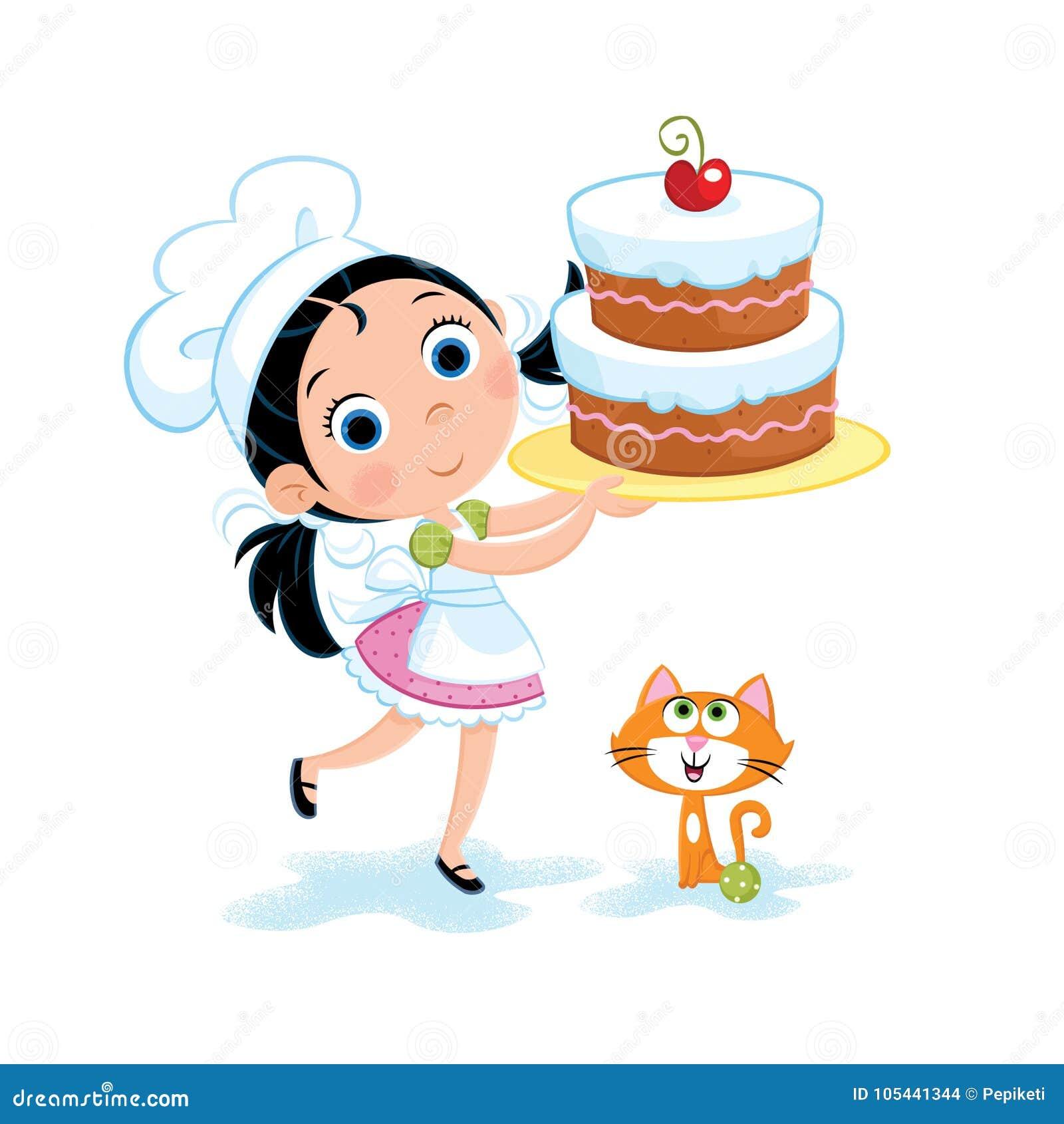 Happy Birthday Little Girl And Birthday Cake Stock Illustration