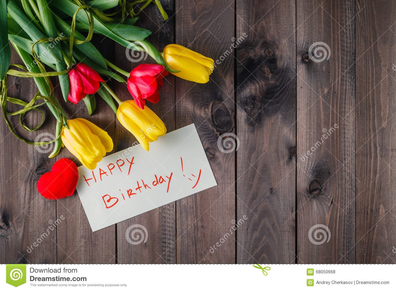 Happy Birthday Message And Flowers Stock Photo Image Of Note
