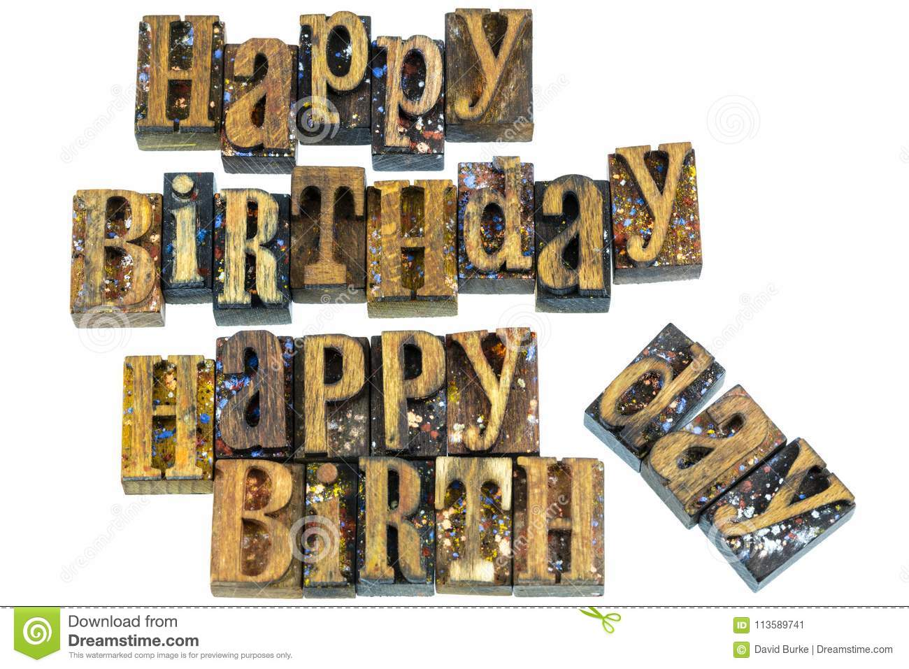 happy birthday greeting letterpress stock image image of message