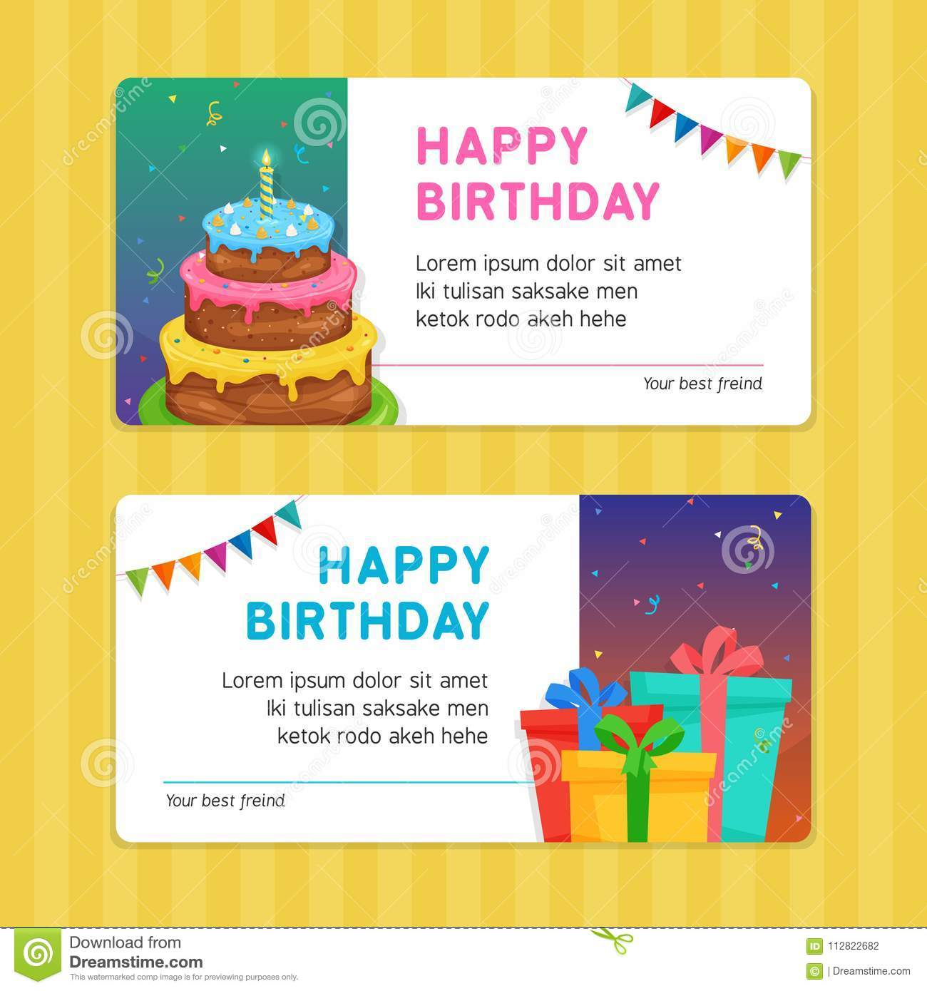 Happy Birthday Modern Invitation Card Template With Cake And Gift Box Illustration