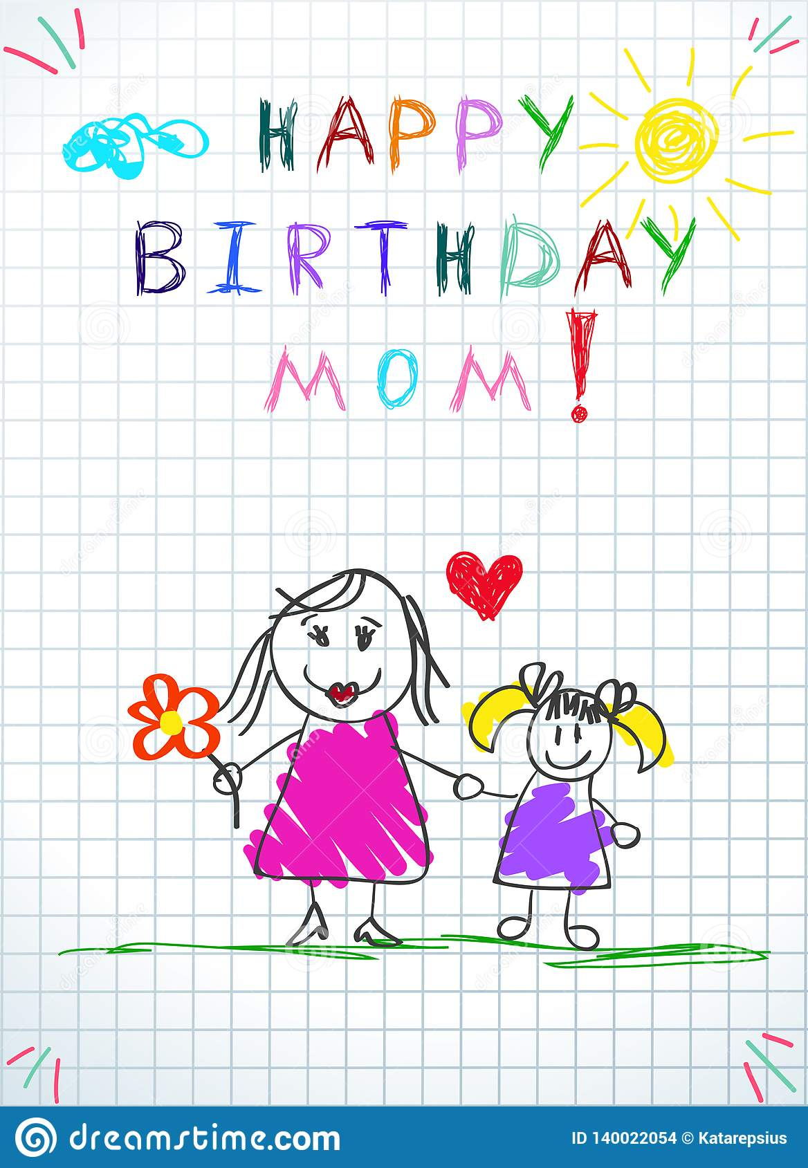 Happy Birthday Mom Hand Drawn Mother And Daughter Stock Illustration Illustration Of Drawn Color 140022054