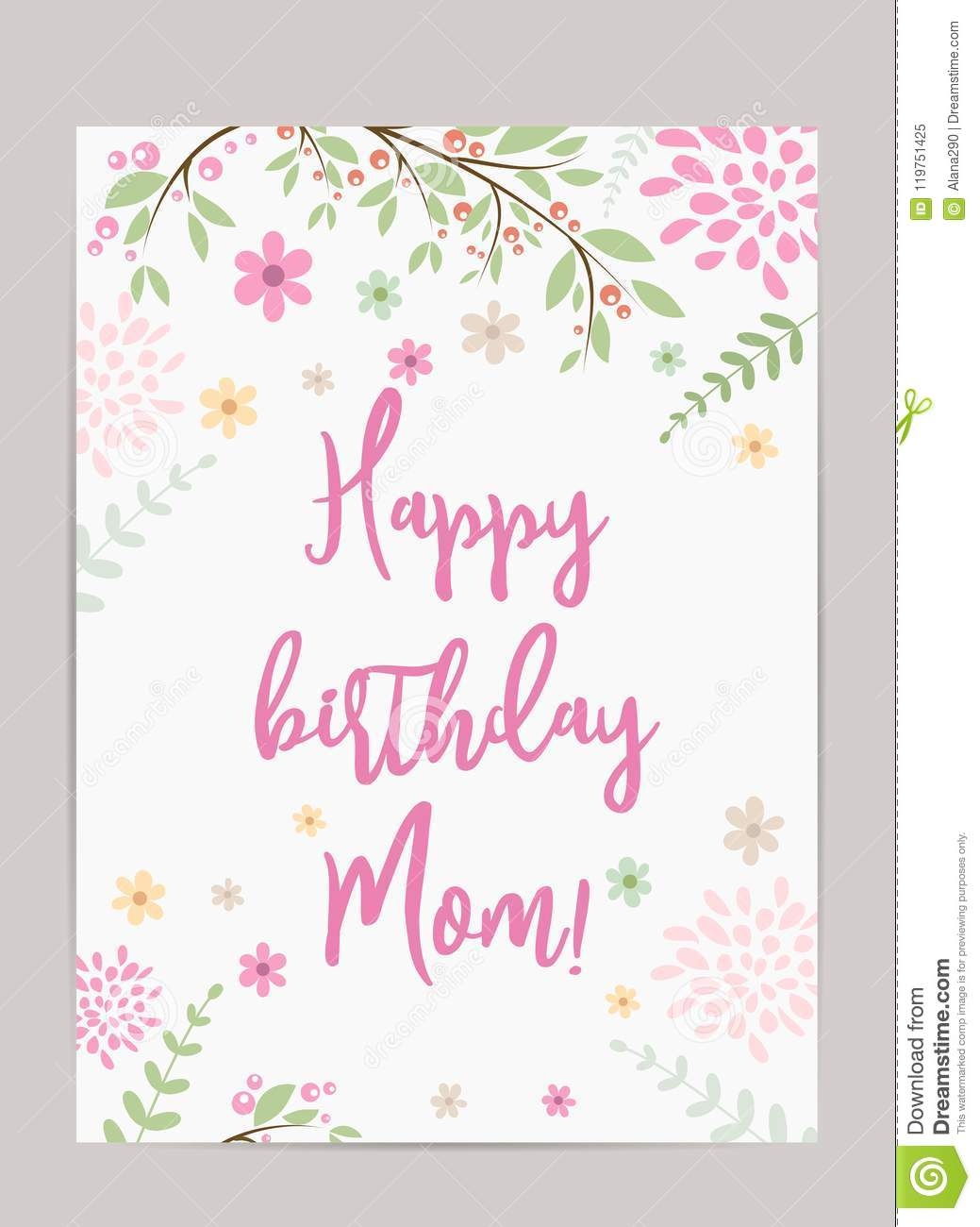 Happy Birthday Mom Holiday Background Template For Greeting Card Pretty Old Fashioned With Abstract Flowers And Floral Elements