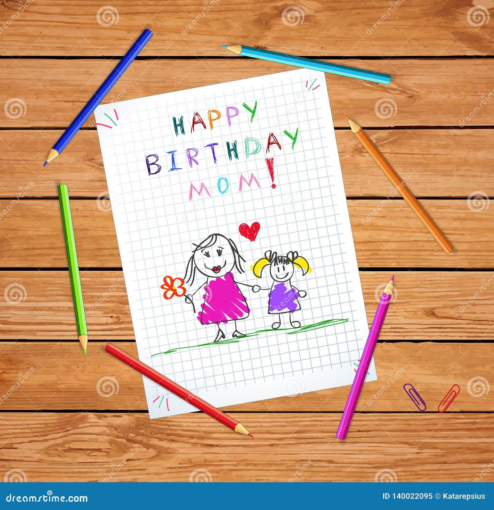 Happy Birthday Mom Kids Hand Drawn Illustration Stock Illustration