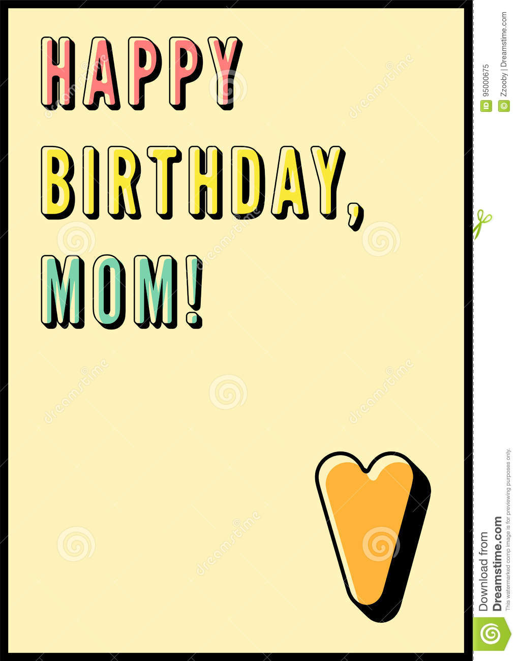 happy birthday mom typographical vintage birthday card retro vector illustration