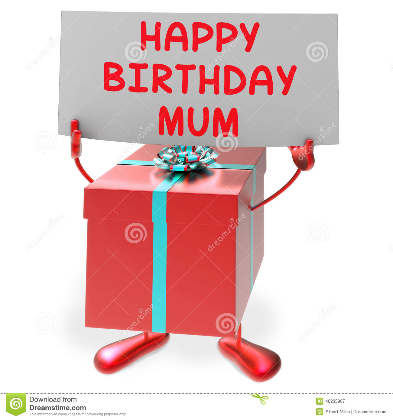 Happy Birthday Mum Means Presents For Mother Stock