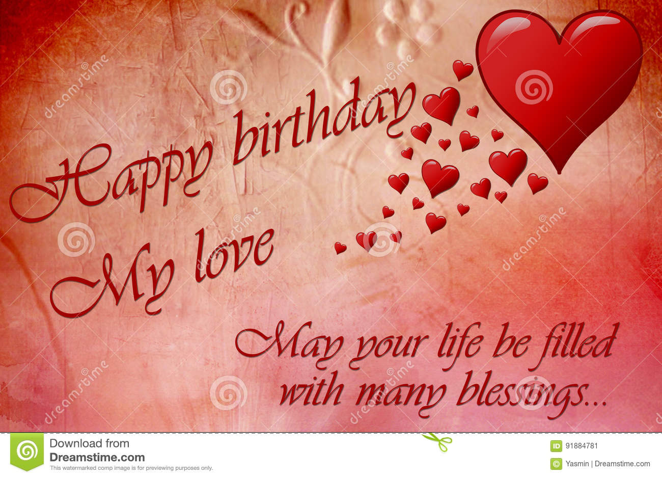 Happy Birthday Card With Red Hears And A Message