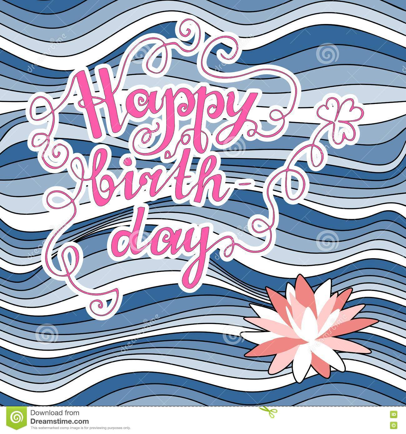 Happy Birthday Nautical Greeting Card With Handwritten Text And