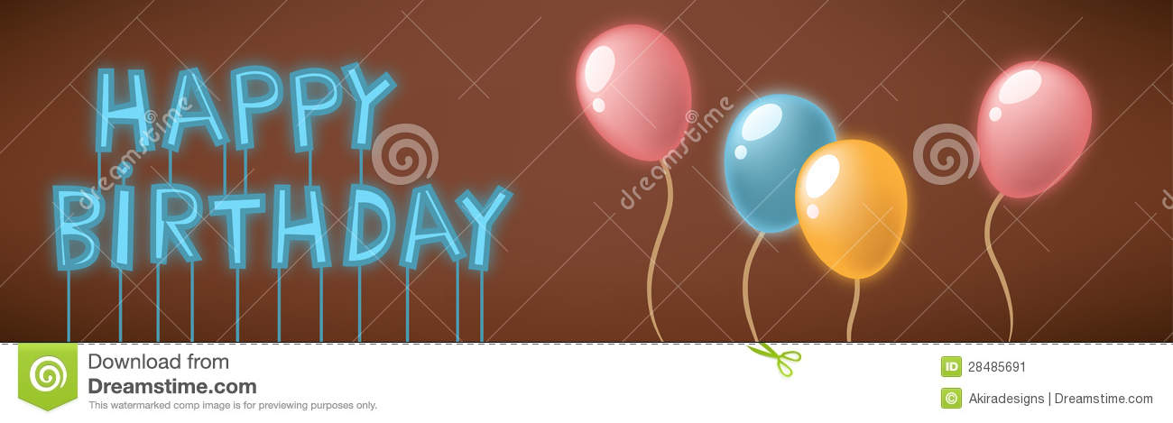 Happy Birthday Neon Sign Card Stock Image Image 28485691