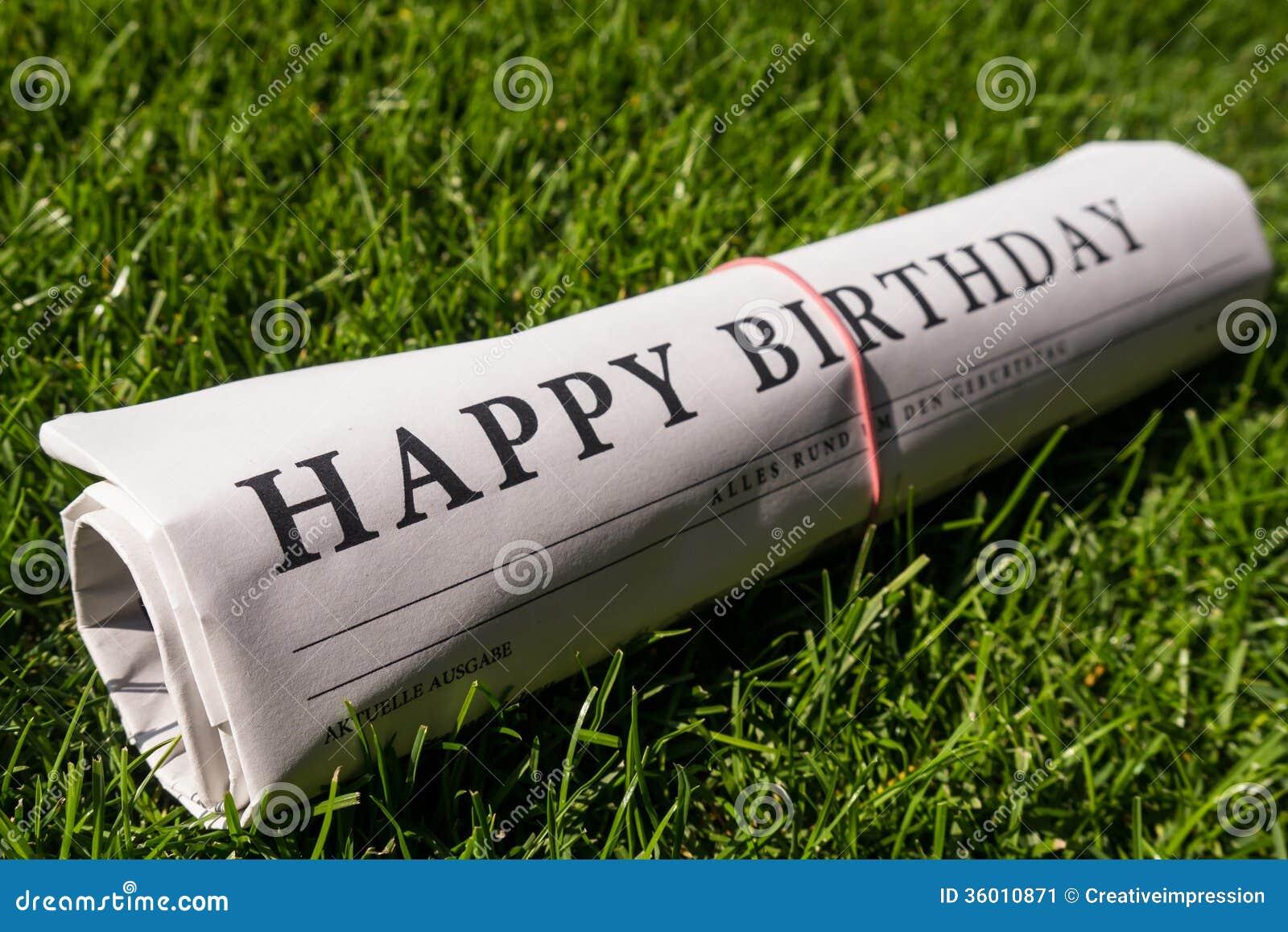 Happy birthday newspaper stock image image of media 36010871 happy birthday newspaper bookmarktalkfo Choice Image