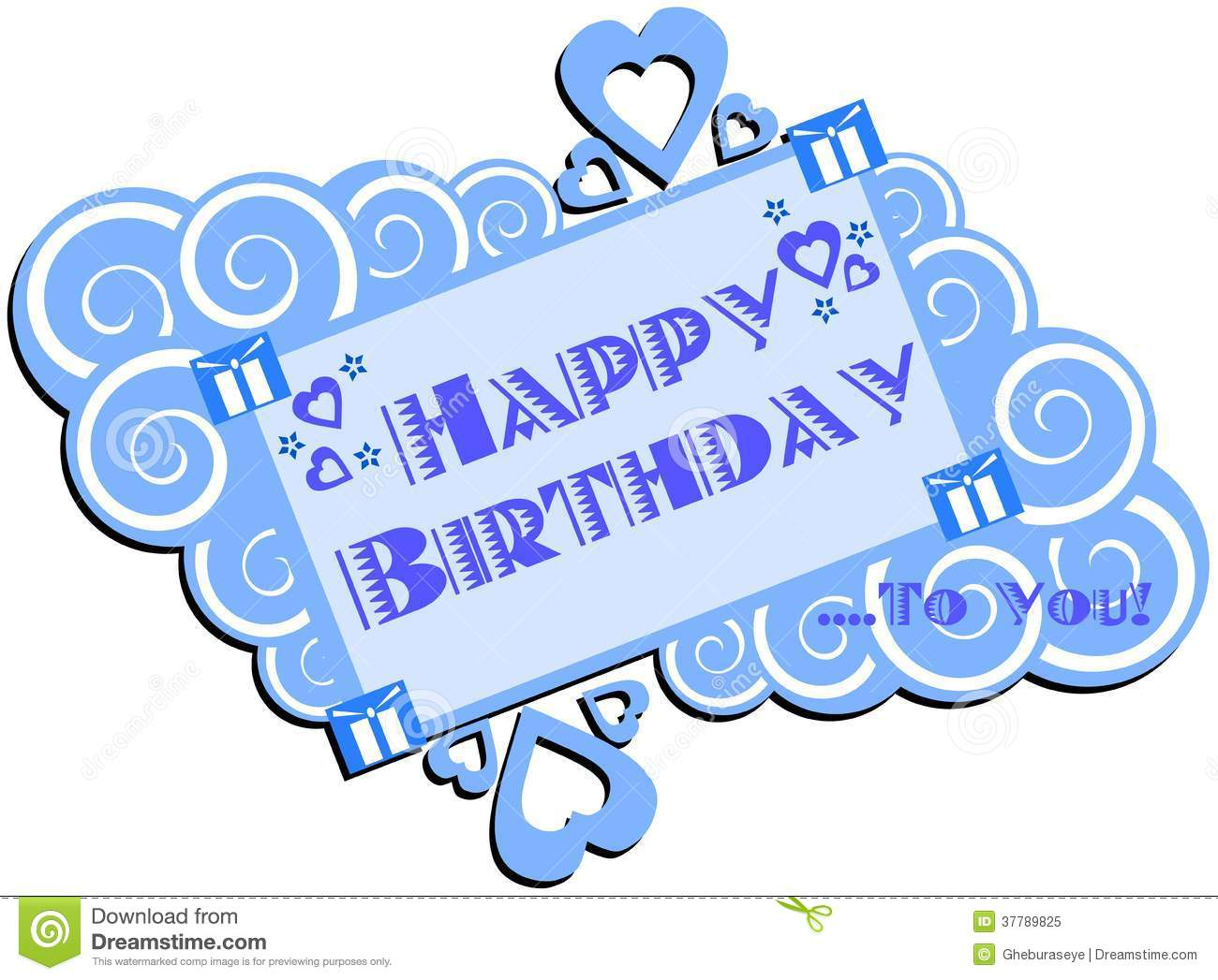 Nice Happy Birthday Greeting Card Isolated Stock