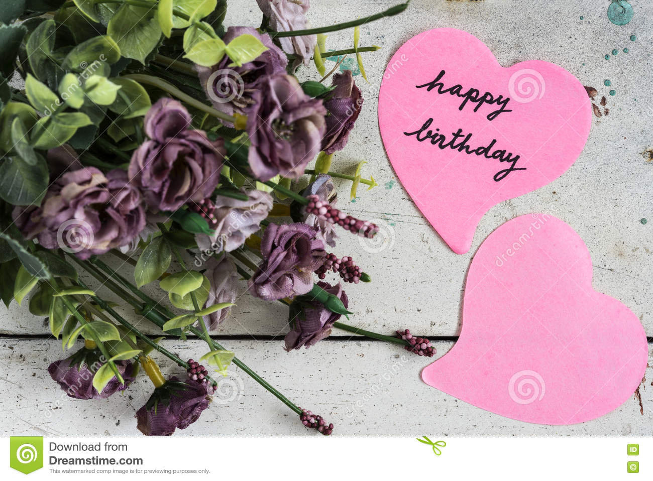 Happy birthday note in heart shape paper with purple flowers stock download happy birthday note in heart shape paper with purple flowers stock photo image of izmirmasajfo