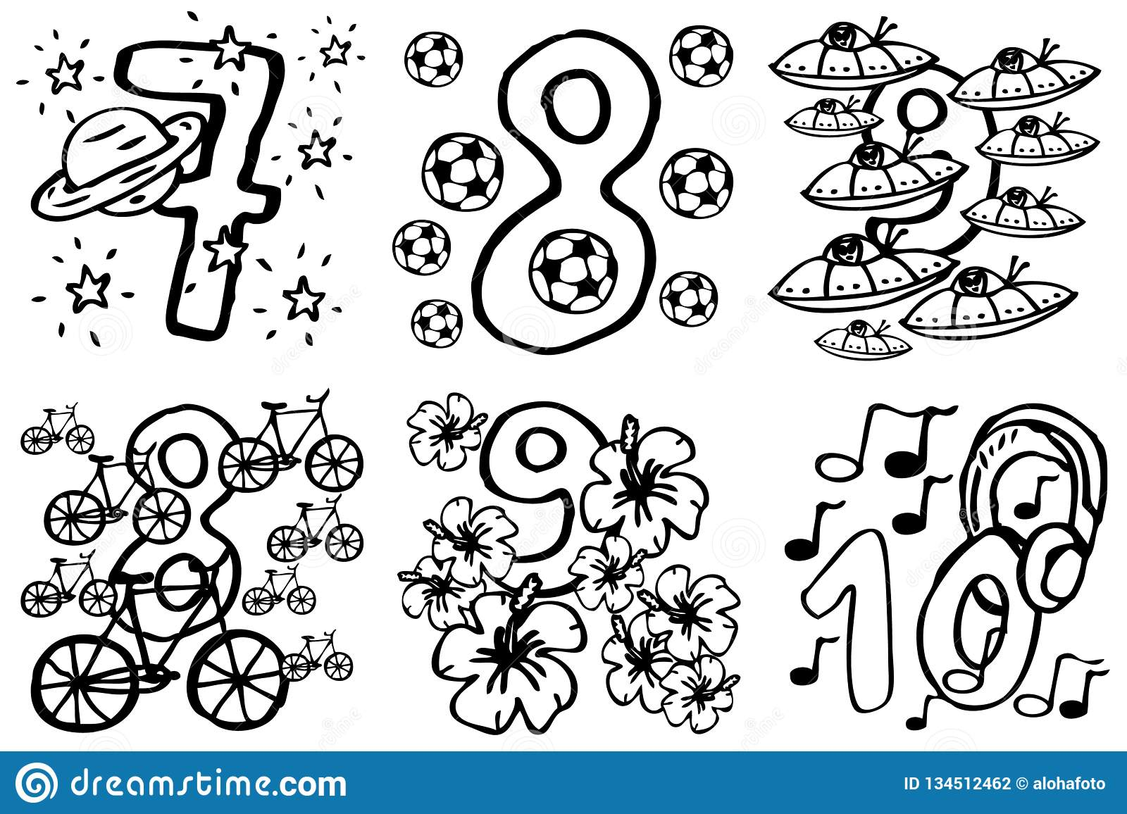 Coloring book - Happy birthday numbers to play and learning numbers with pictures about hobbies from 7-10 for kids