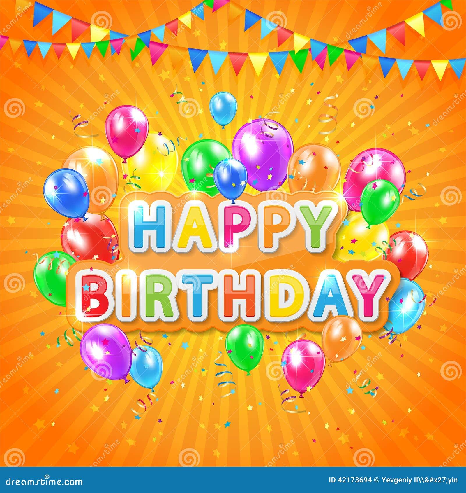 Happy Birthday Orange Background Stock Vector - Image ...