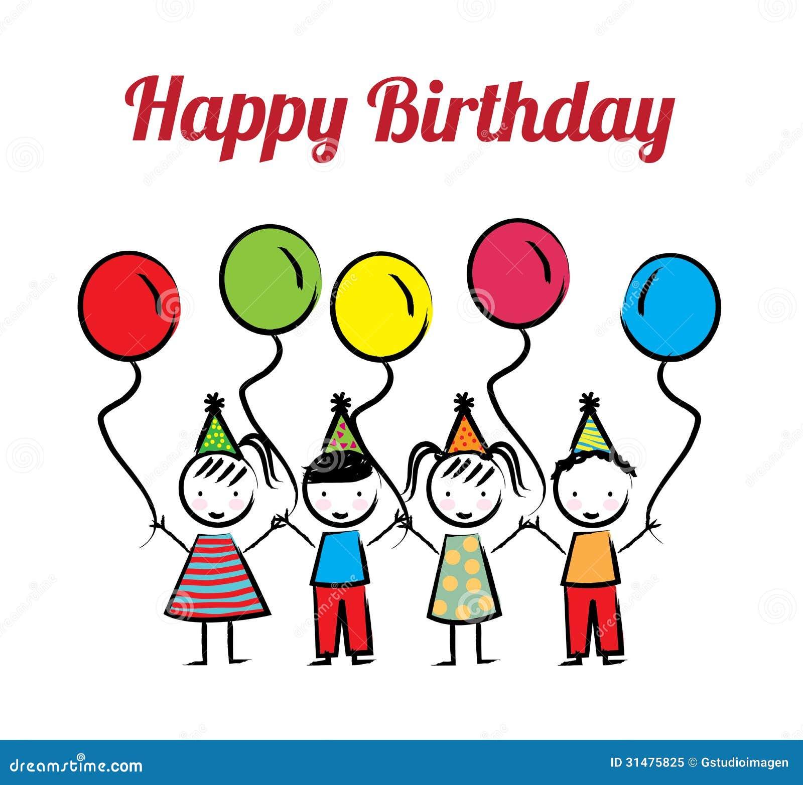 Happy Birthday Girl Illustration ~ Happy birthday stock vector illustration of little element