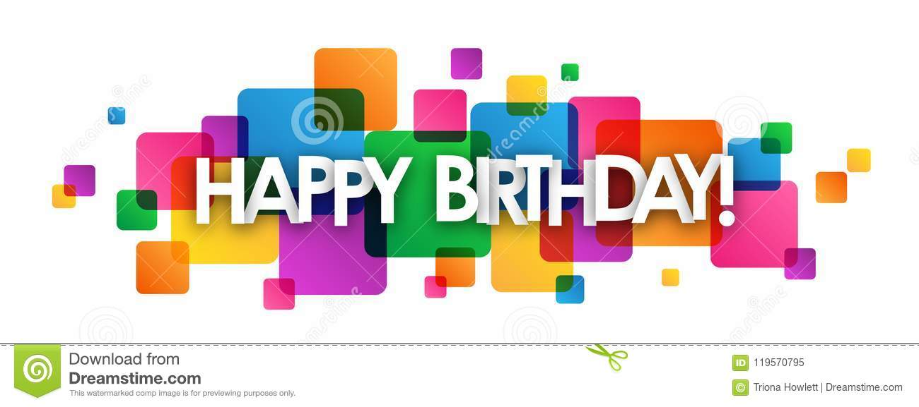 Happy Birthday Colorful Overlapping Squares Banner Stock