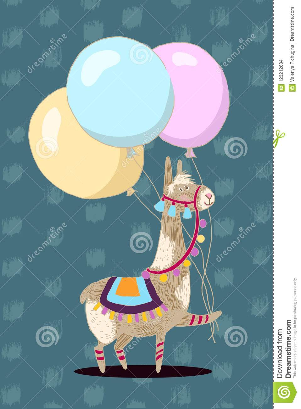 Greeting Card Vector Design Cheerful Lama With Three Balloons Happy Birthday Invitation Template
