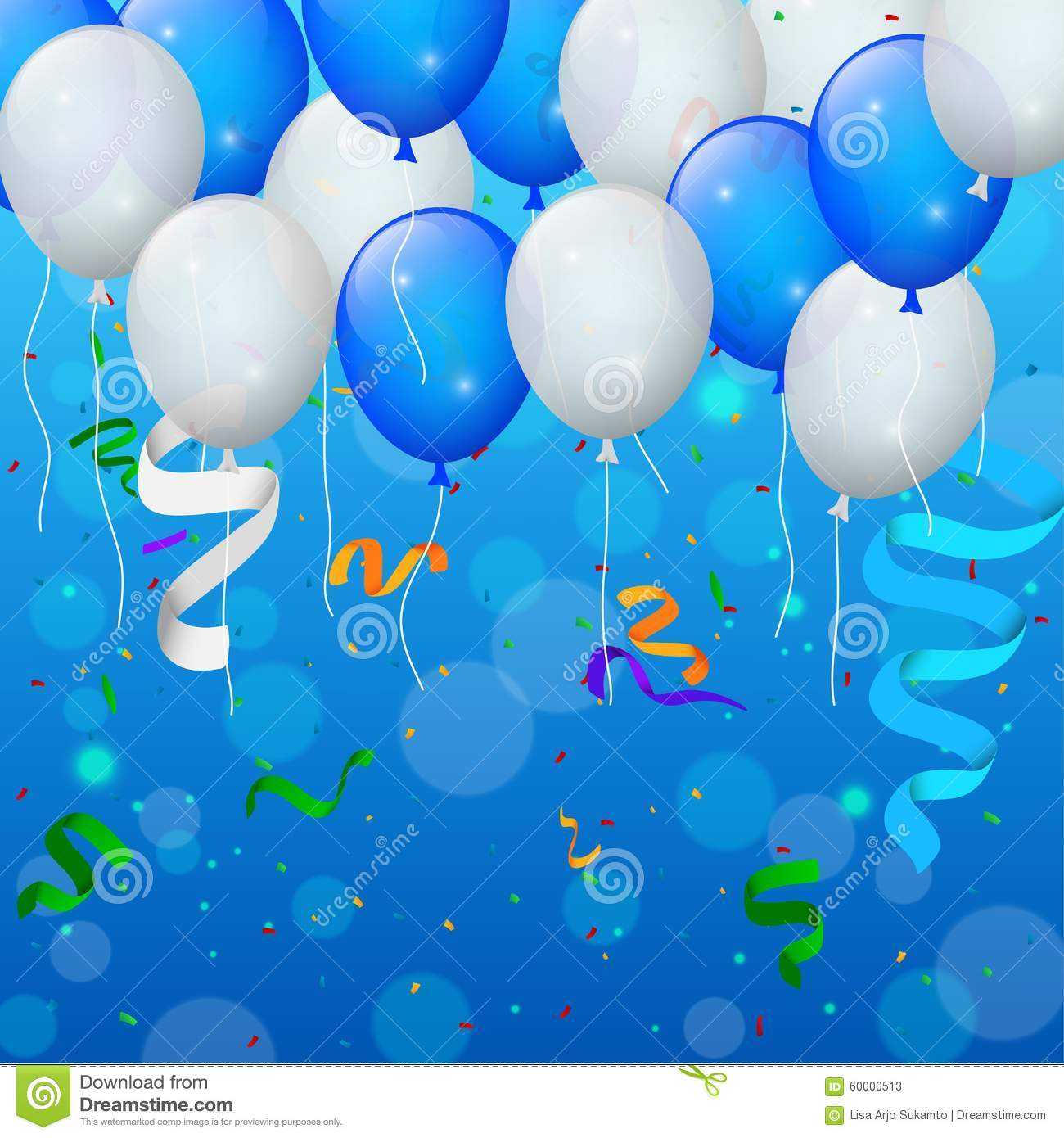 happy birthday party with balloons and ribbons background stock