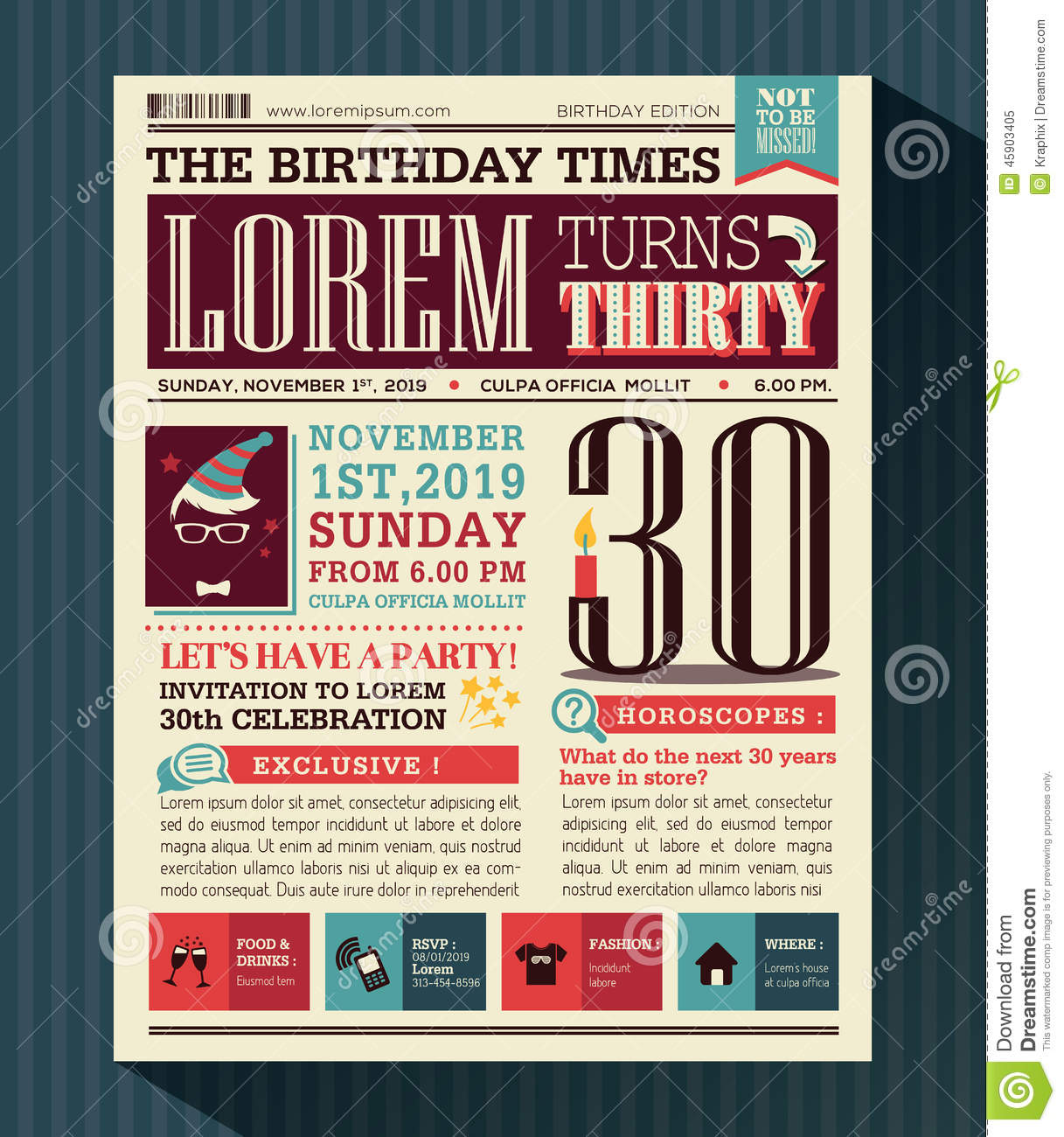 Happy Birthday Party Card Design Layout In Newspaper Style ...