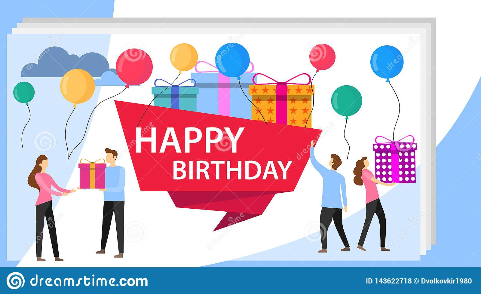 Happy Birthday Party Celebration With Friend Vector Illustration Of A Greeting Card