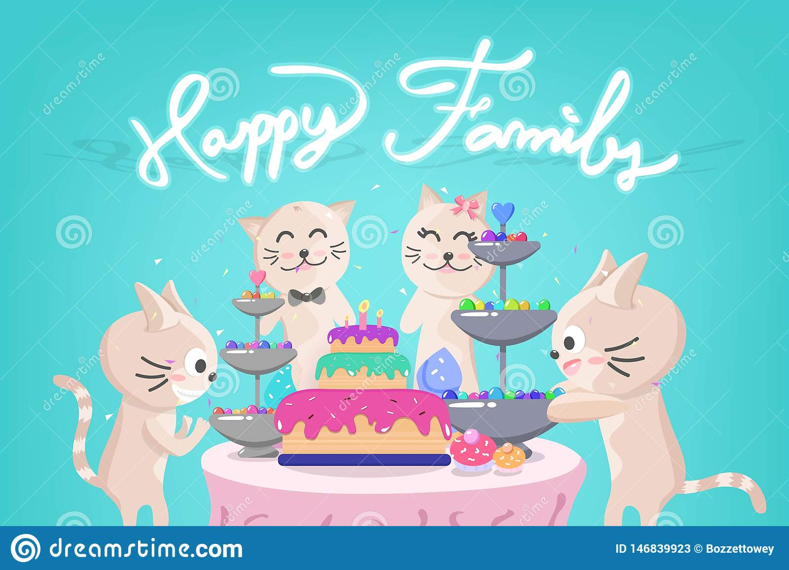 Happy Birthday Party Cute Kitten Family Celebration Confetti Falling Adorable Animal Cat Cartoon Characters Collection Holiday Stock Vector Illustration Of Flat Child 146839923