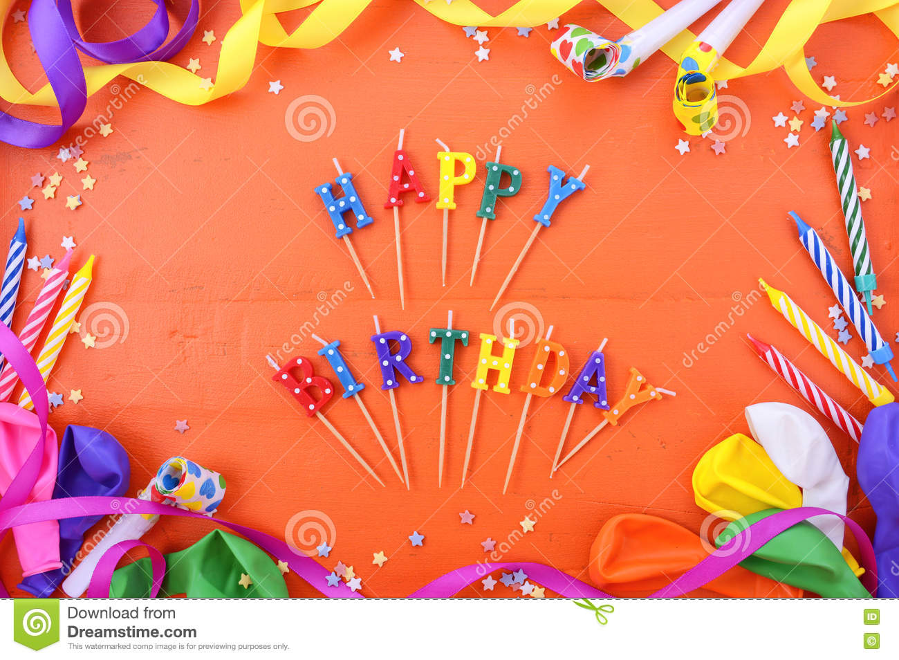 Happy birthday party decorations background stock photo for Background decoration for birthday party