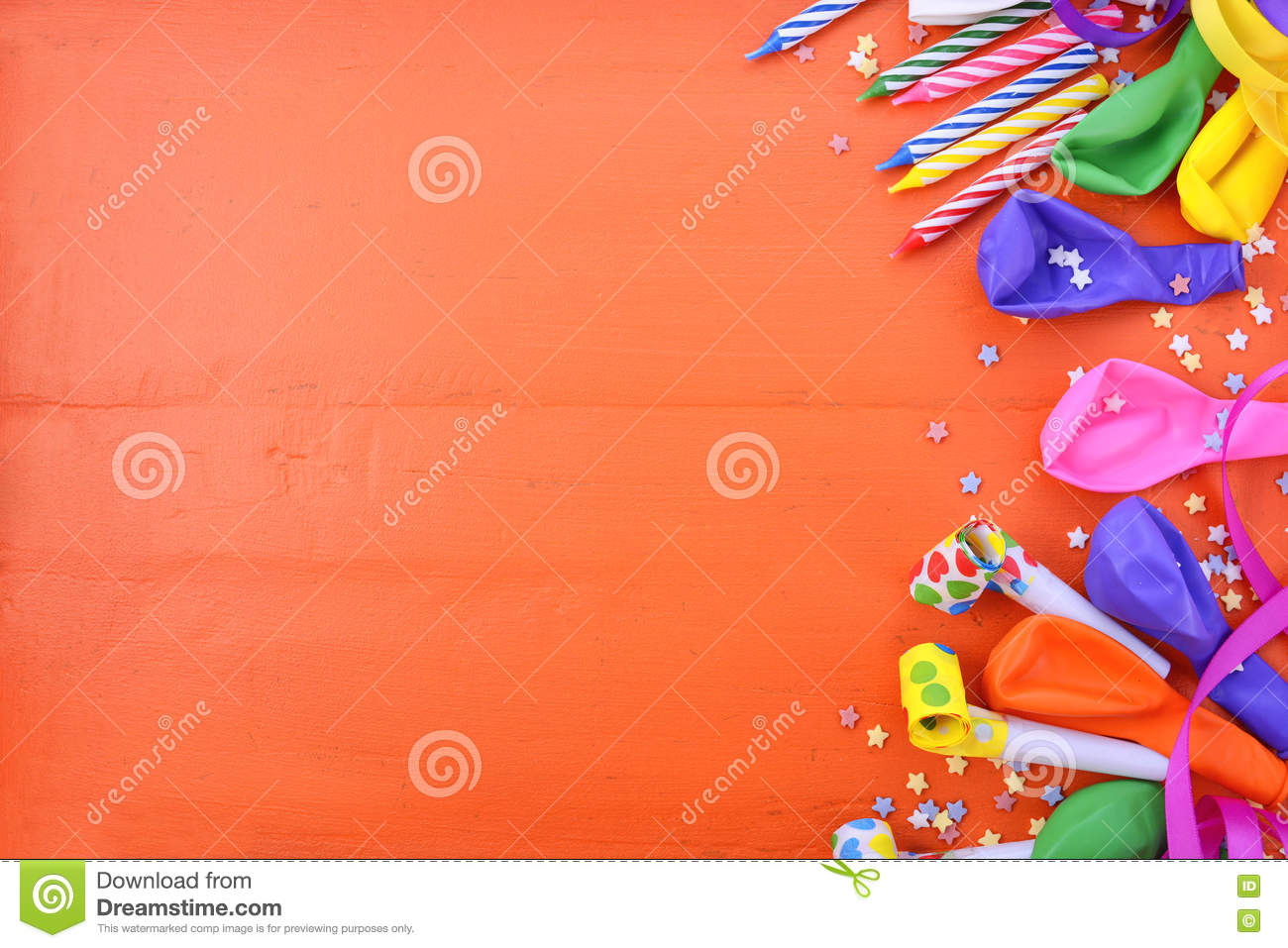 Happy Birthday Background With Decorated Borders Party Decorations On A Bright Orange Wood Table Copy Space For Your Text Here