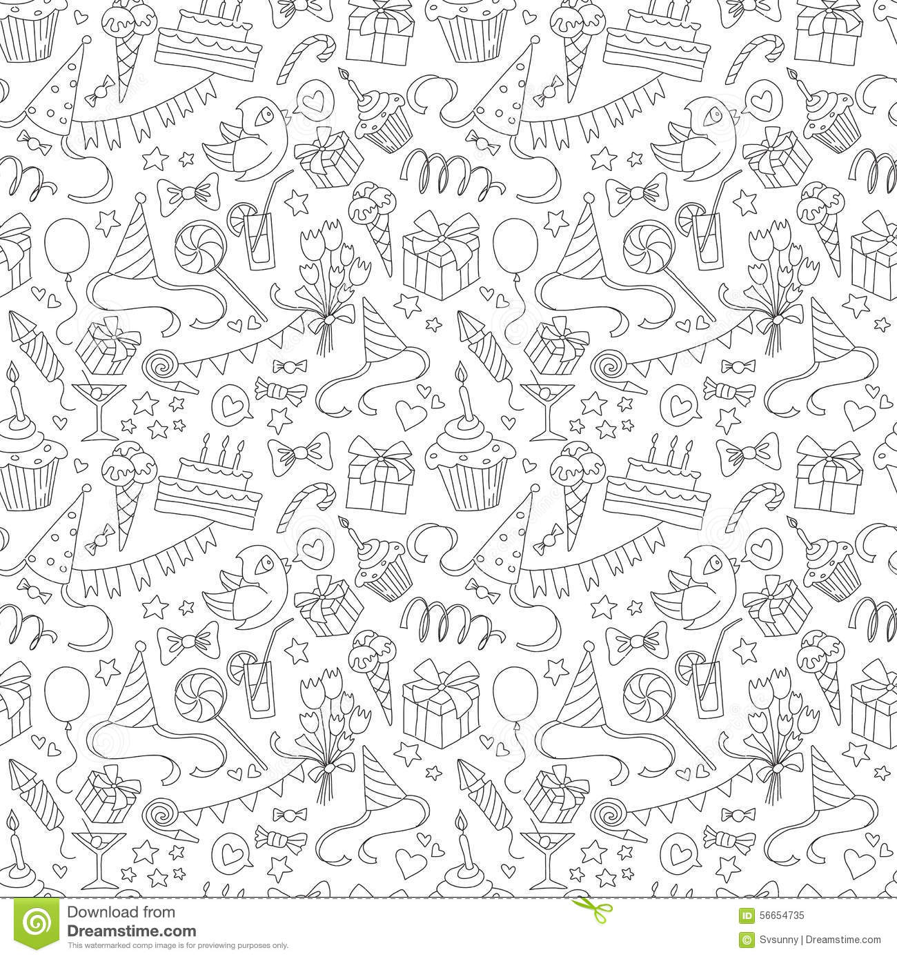 happy birthday party doodle black and white seamless pattern stock