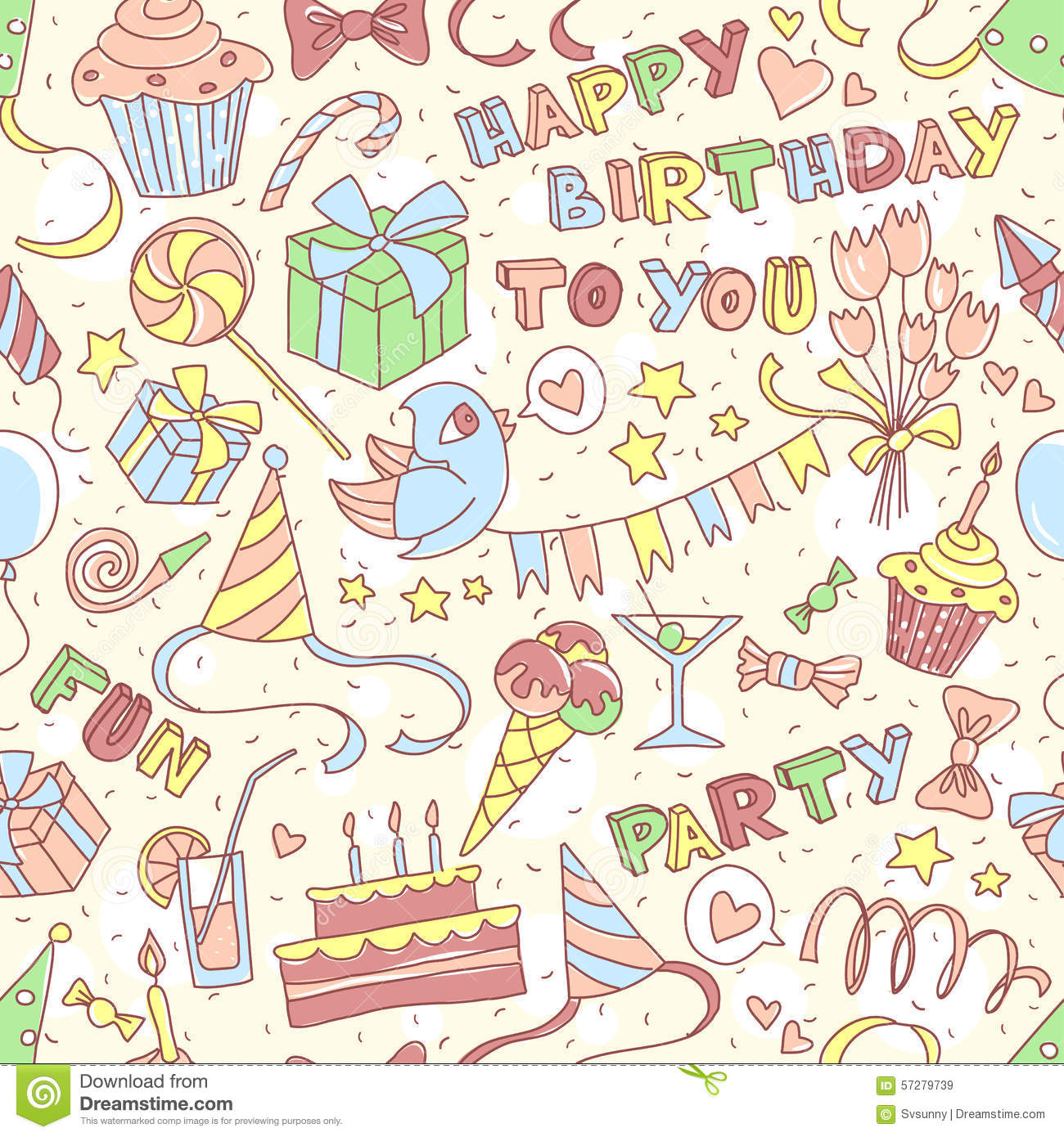 Happy Birthday Party Greeting Seamless Pattern With Hand