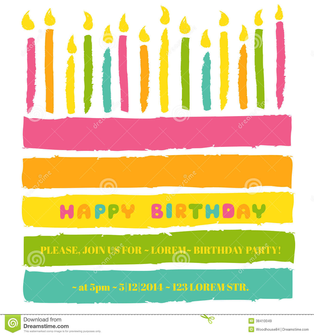 happy birthday and party invitation card stock vector
