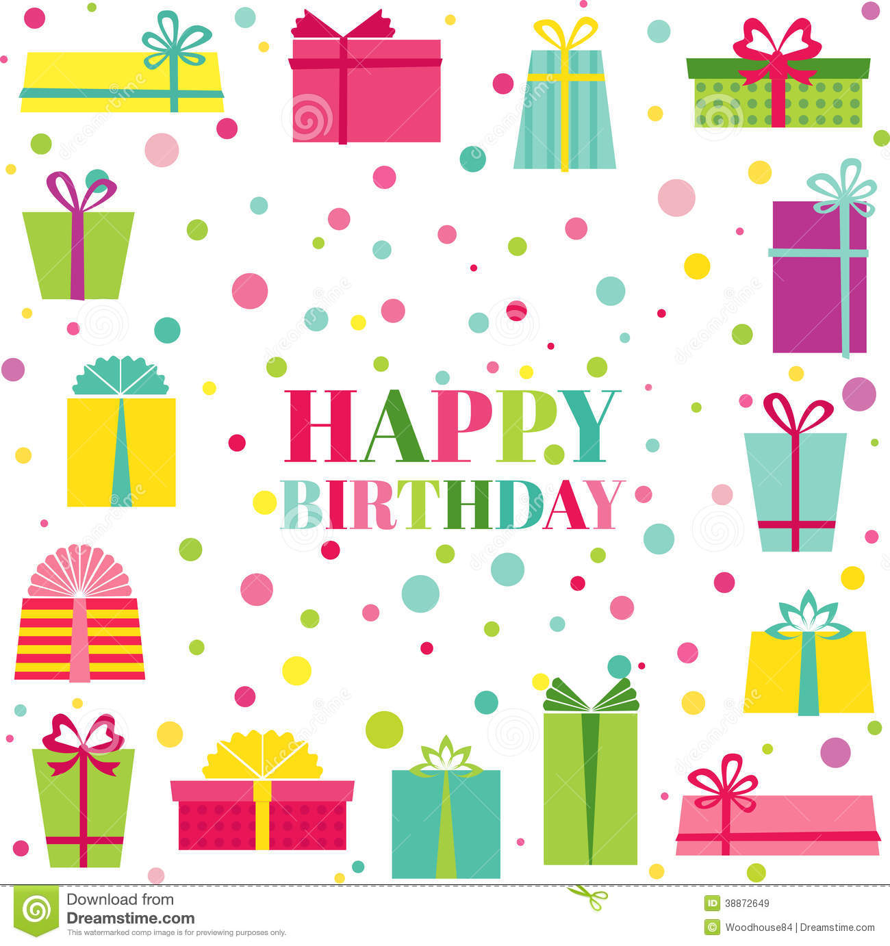 Happy Birthday And Party Invitation Card Stock Vector Illustration