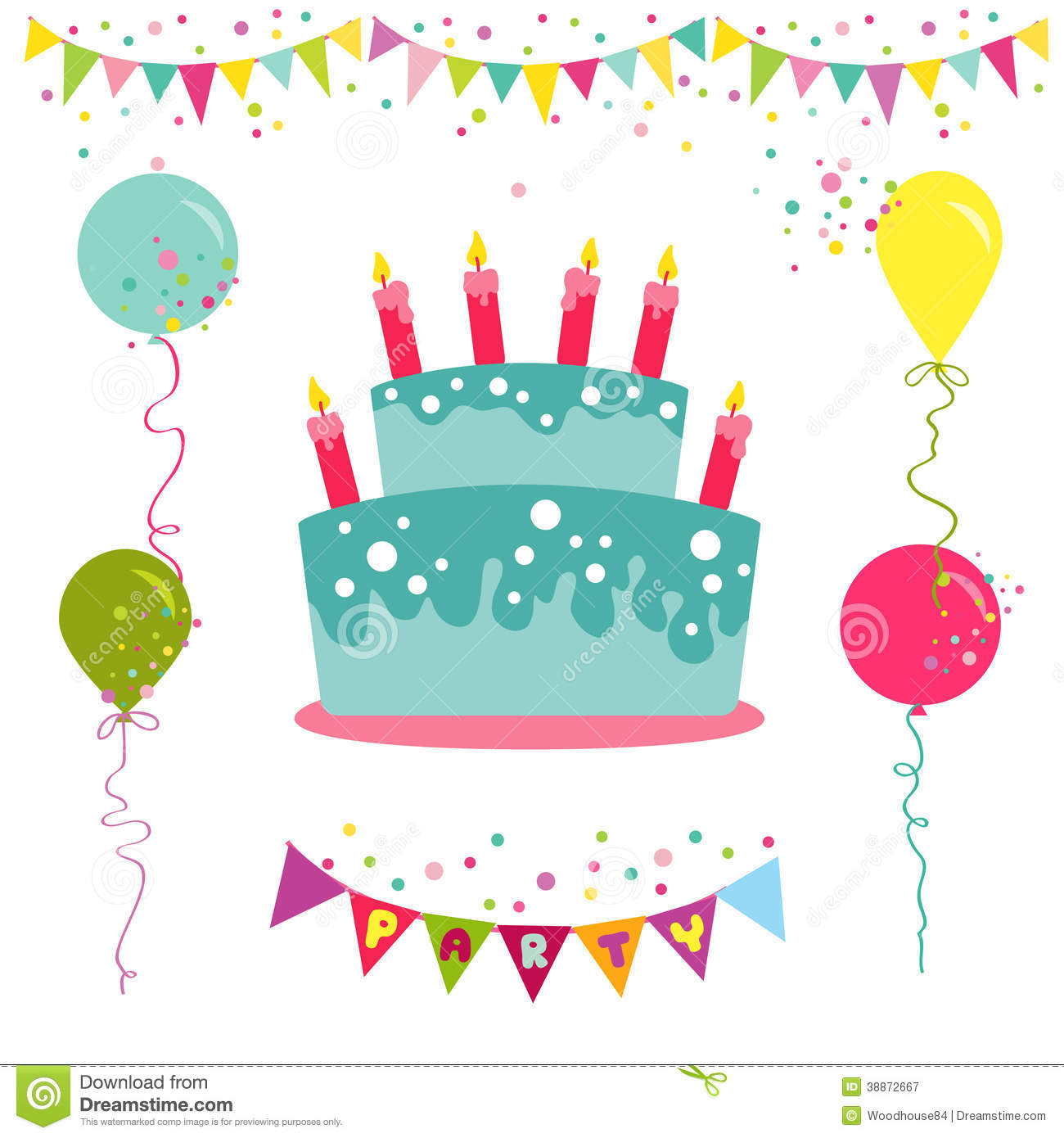 Happy Birthday And Party Invitation Card Stock Vector - Image ...