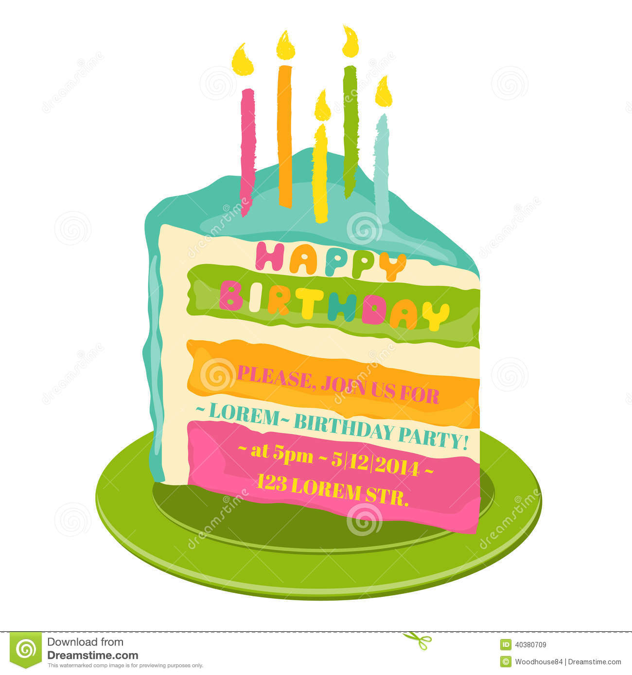 Happy birthday and party invitation card stock vector happy birthday and party invitation card stopboris Gallery