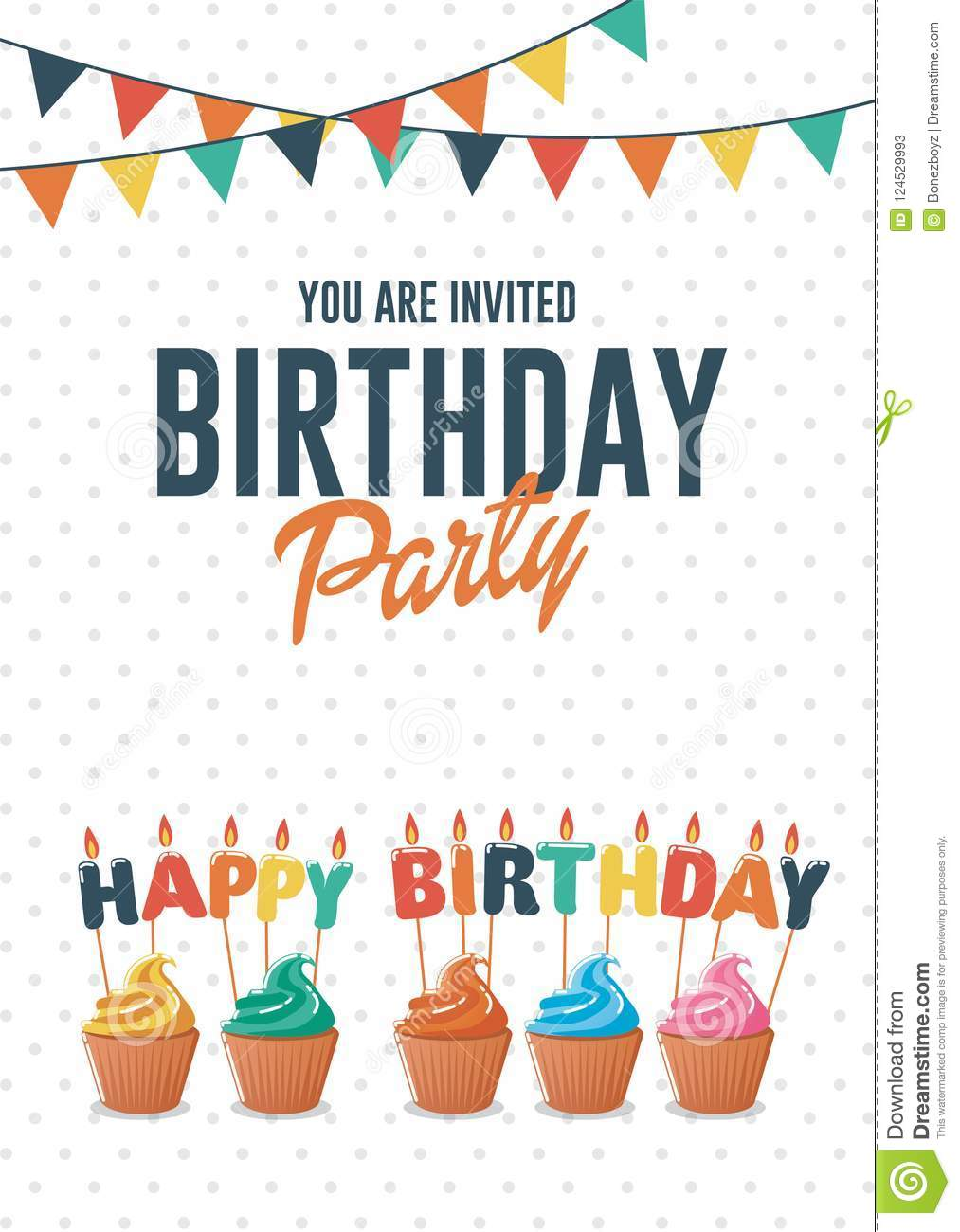 Birthday Greeting And Invitation Card With Colorful Cupcakes