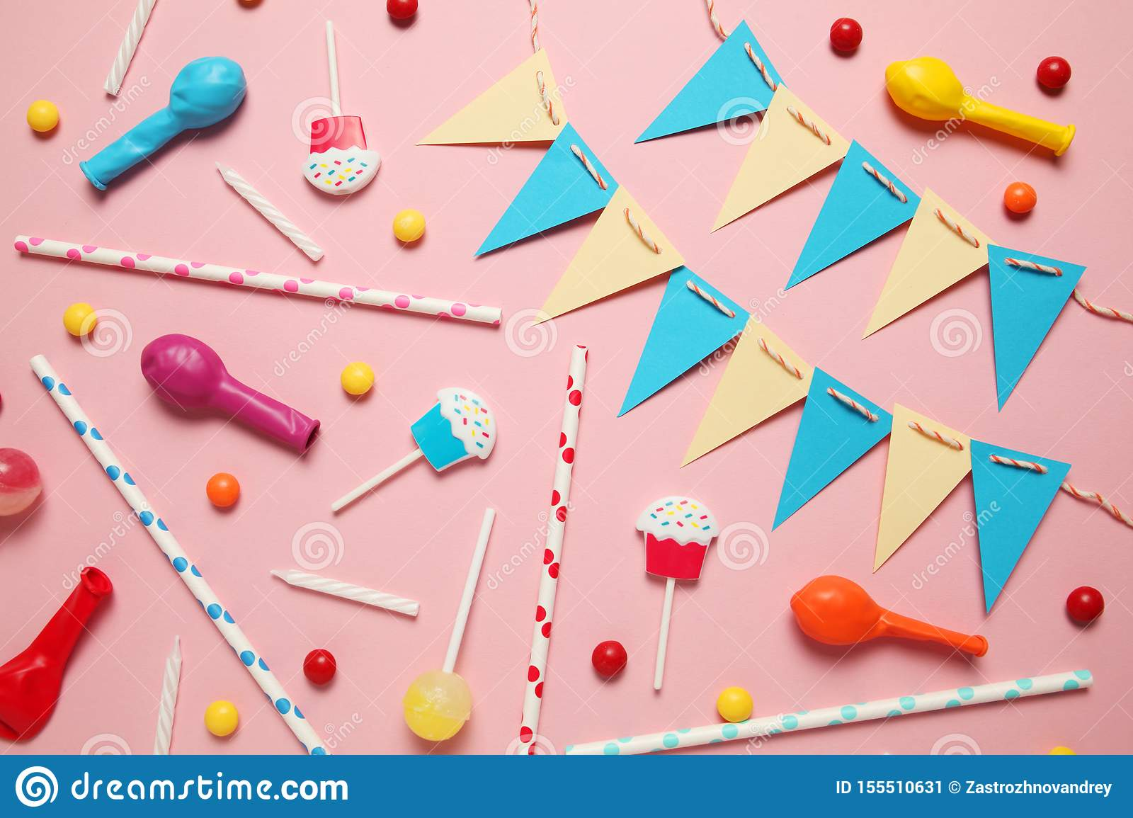 Happy birthday party items, flat lay pattern