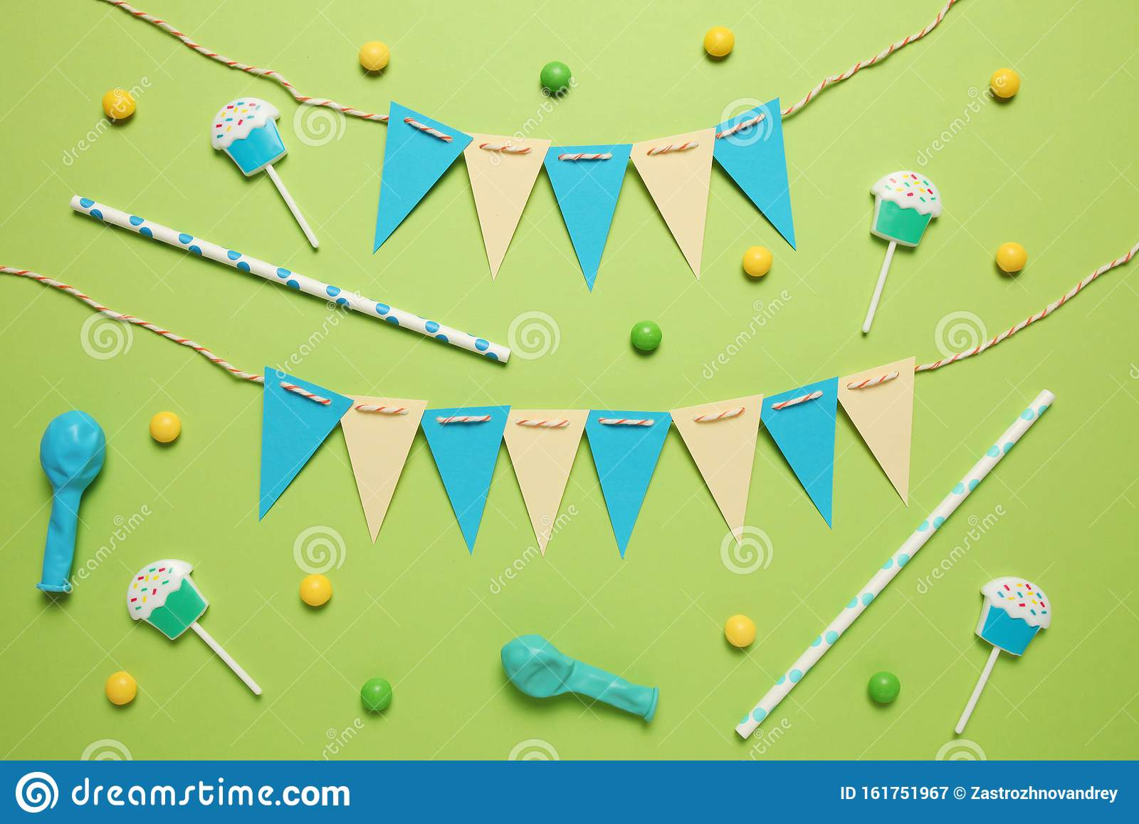 Happy birthday party items, flat lay pattern